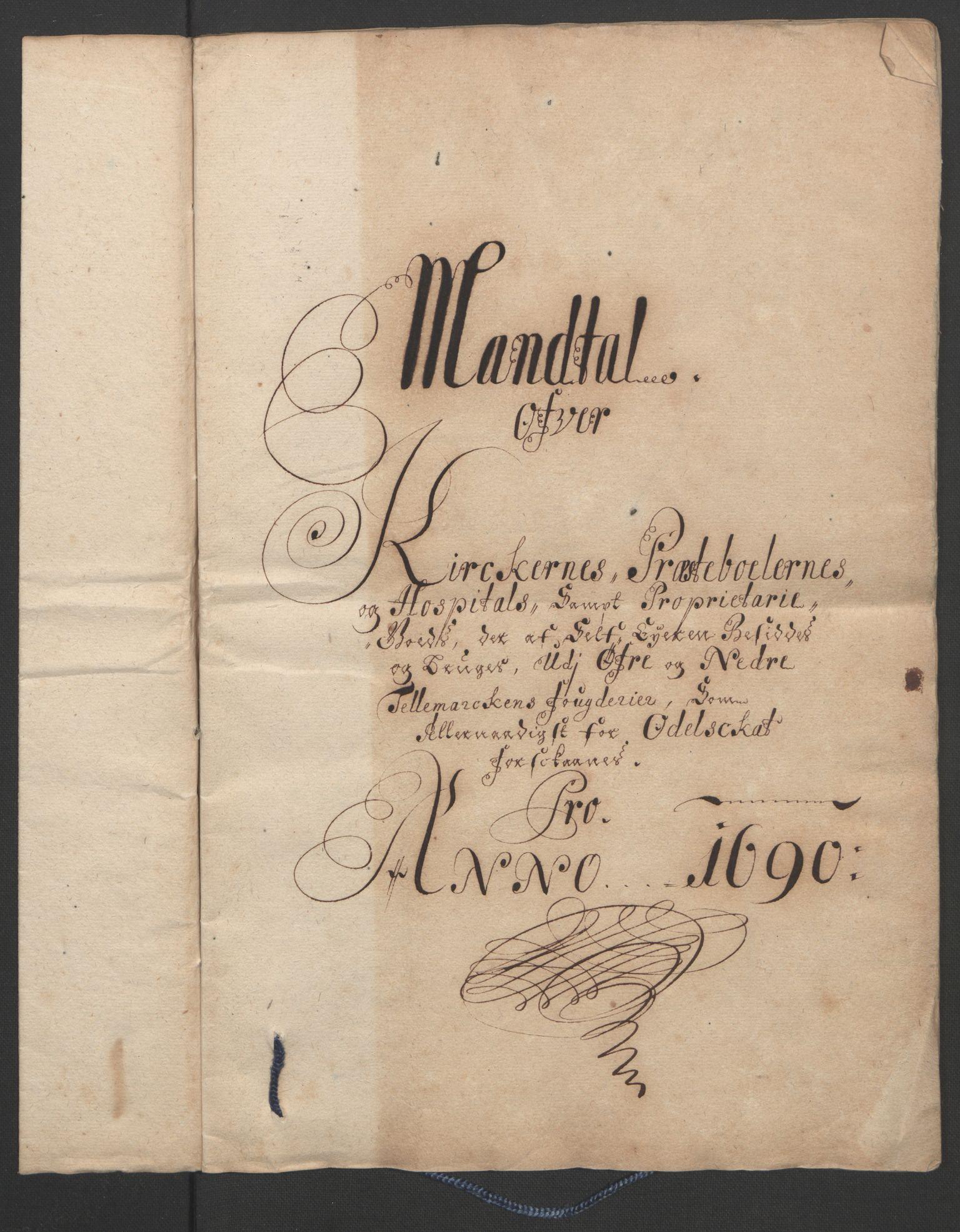 RA, Rentekammeret inntil 1814, Reviderte regnskaper, Fogderegnskap, R35/L2091: Fogderegnskap Øvre og Nedre Telemark, 1690-1693, s. 31