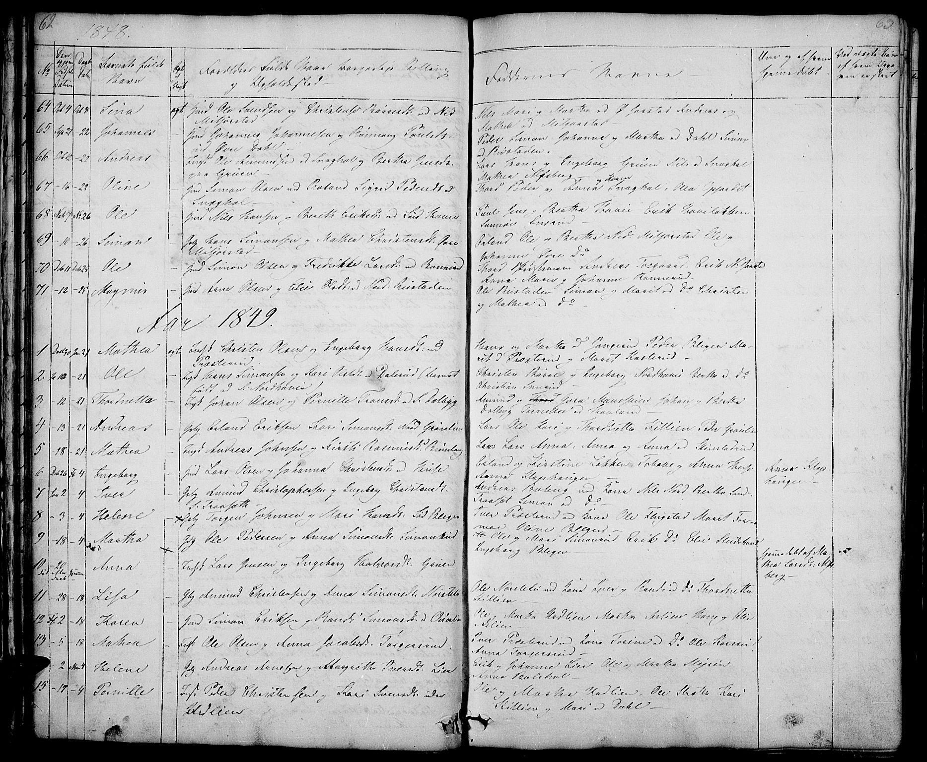 SAH, Fåberg prestekontor, Klokkerbok nr. 5, 1837-1864, s. 62-63