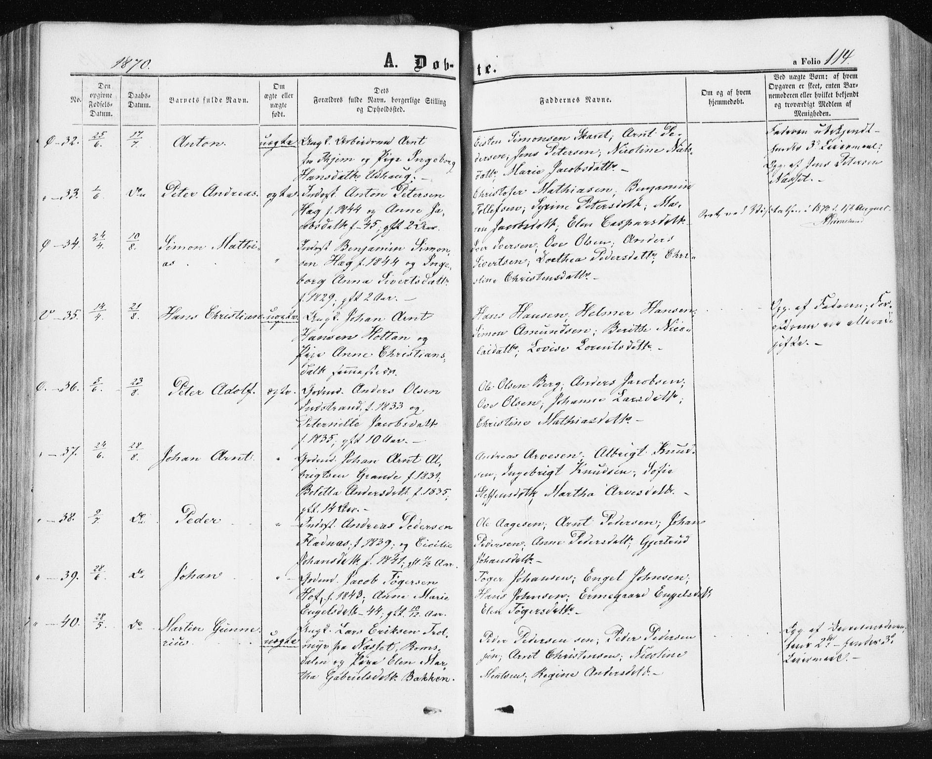 SAT, Ministerialprotokoller, klokkerbøker og fødselsregistre - Sør-Trøndelag, 659/L0737: Ministerialbok nr. 659A07, 1857-1875, s. 114