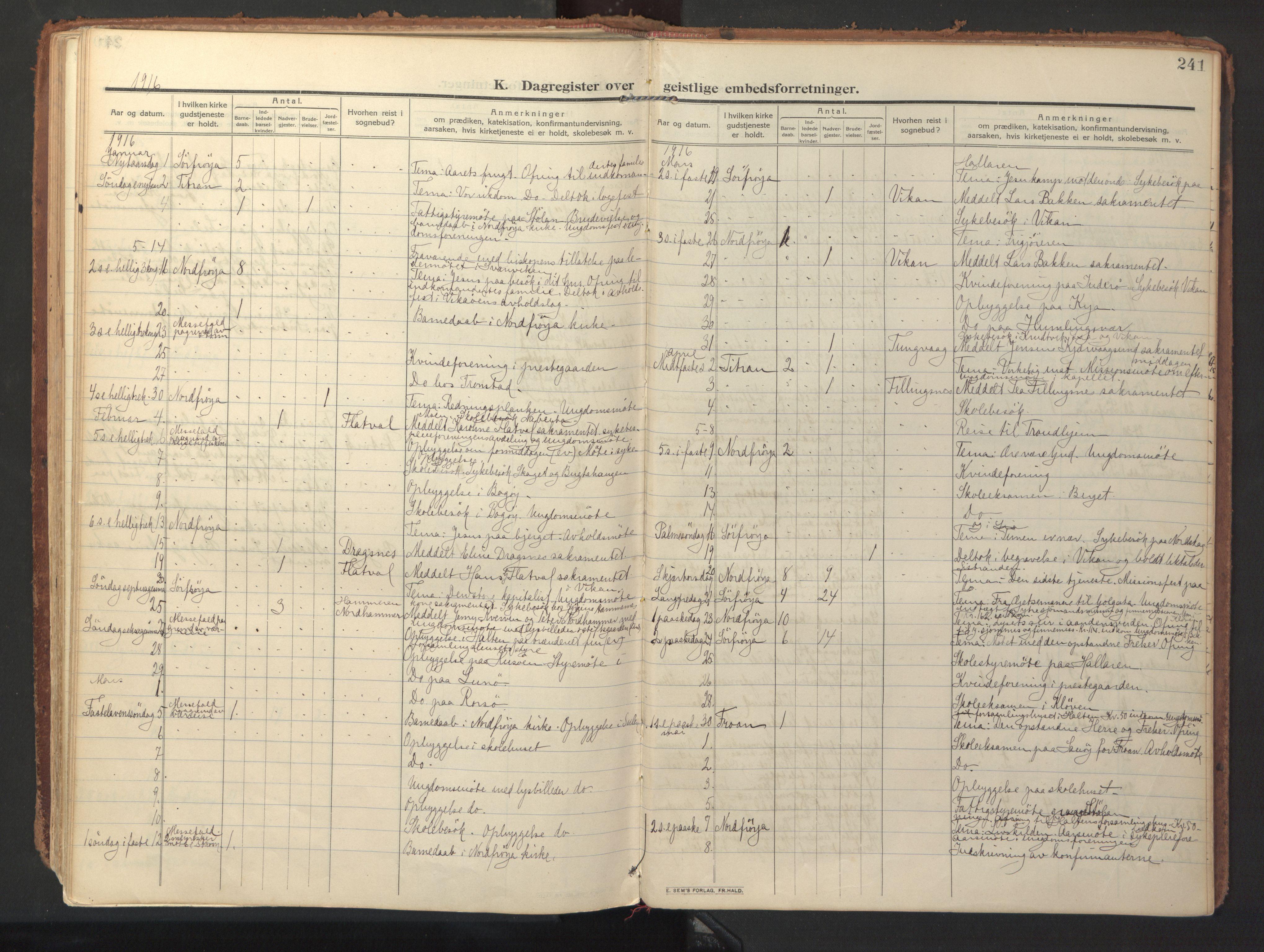 SAT, Ministerialprotokoller, klokkerbøker og fødselsregistre - Sør-Trøndelag, 640/L0581: Ministerialbok nr. 640A06, 1910-1924, s. 241
