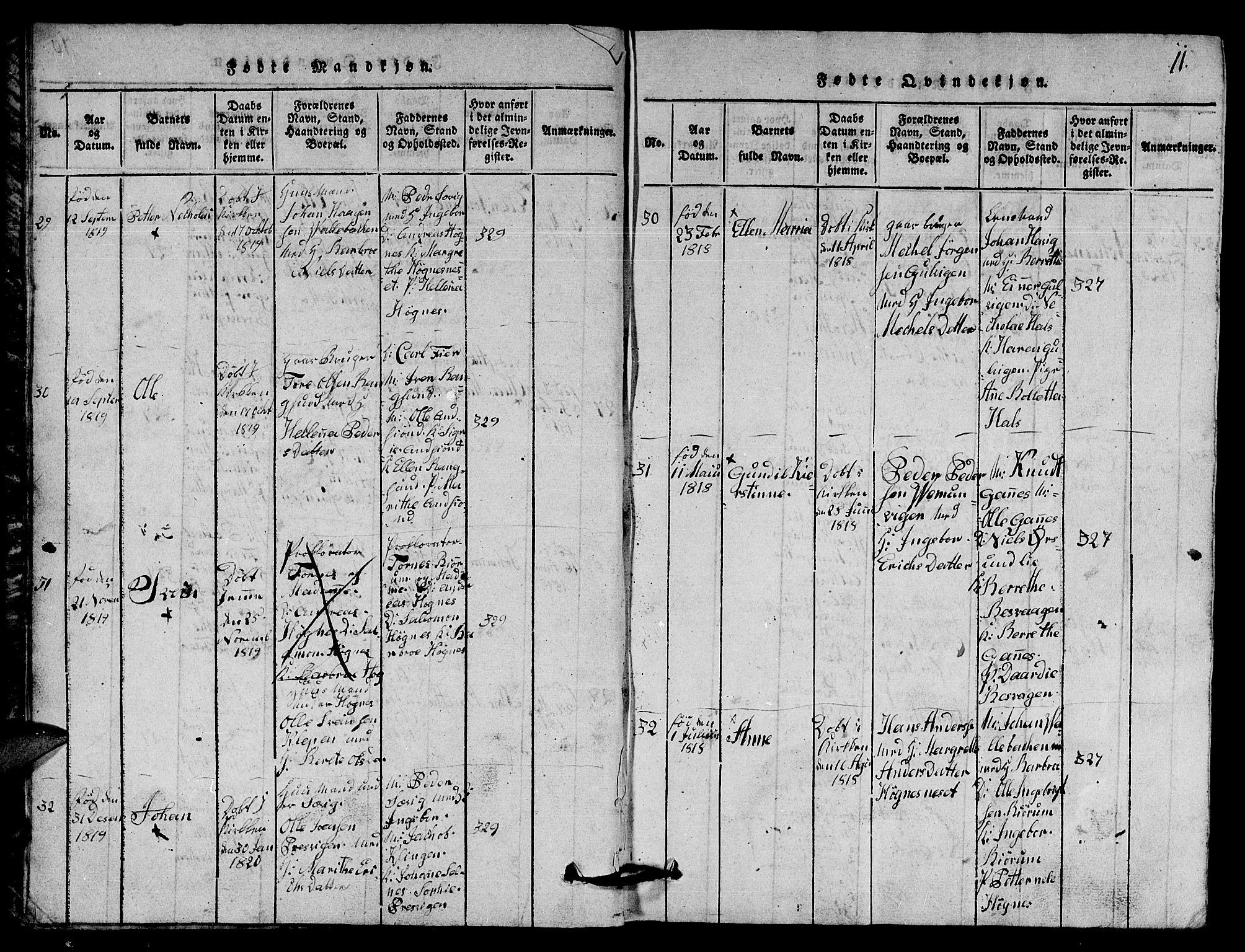 SAT, Ministerialprotokoller, klokkerbøker og fødselsregistre - Nord-Trøndelag, 770/L0590: Klokkerbok nr. 770C01, 1815-1824, s. 11
