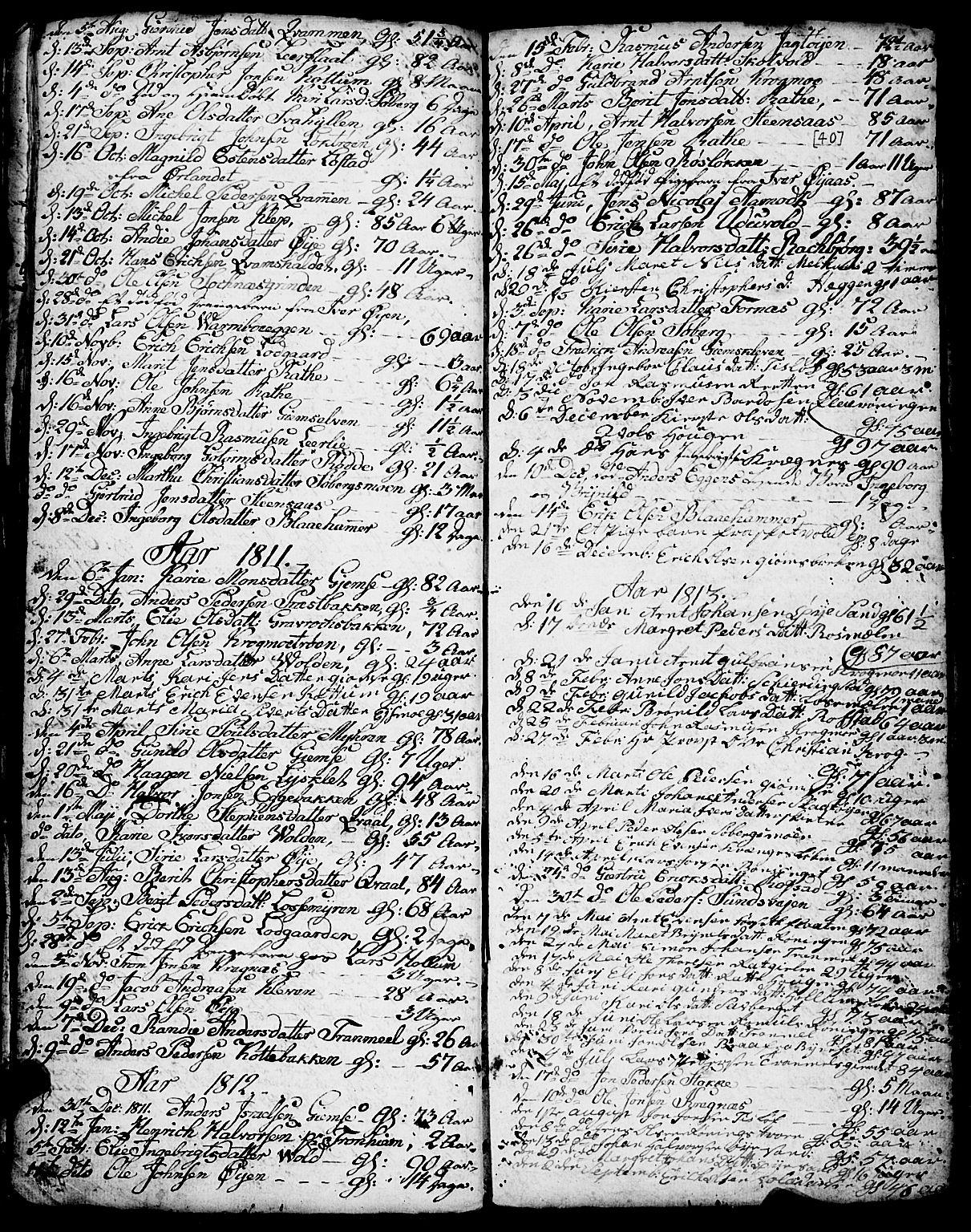 SAT, Ministerialprotokoller, klokkerbøker og fødselsregistre - Sør-Trøndelag, 691/L1091: Klokkerbok nr. 691C02, 1802-1815, s. 40