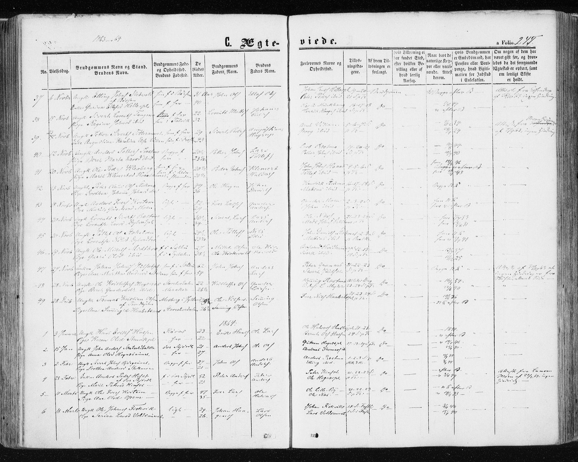 SAT, Ministerialprotokoller, klokkerbøker og fødselsregistre - Nord-Trøndelag, 709/L0075: Ministerialbok nr. 709A15, 1859-1870, s. 245