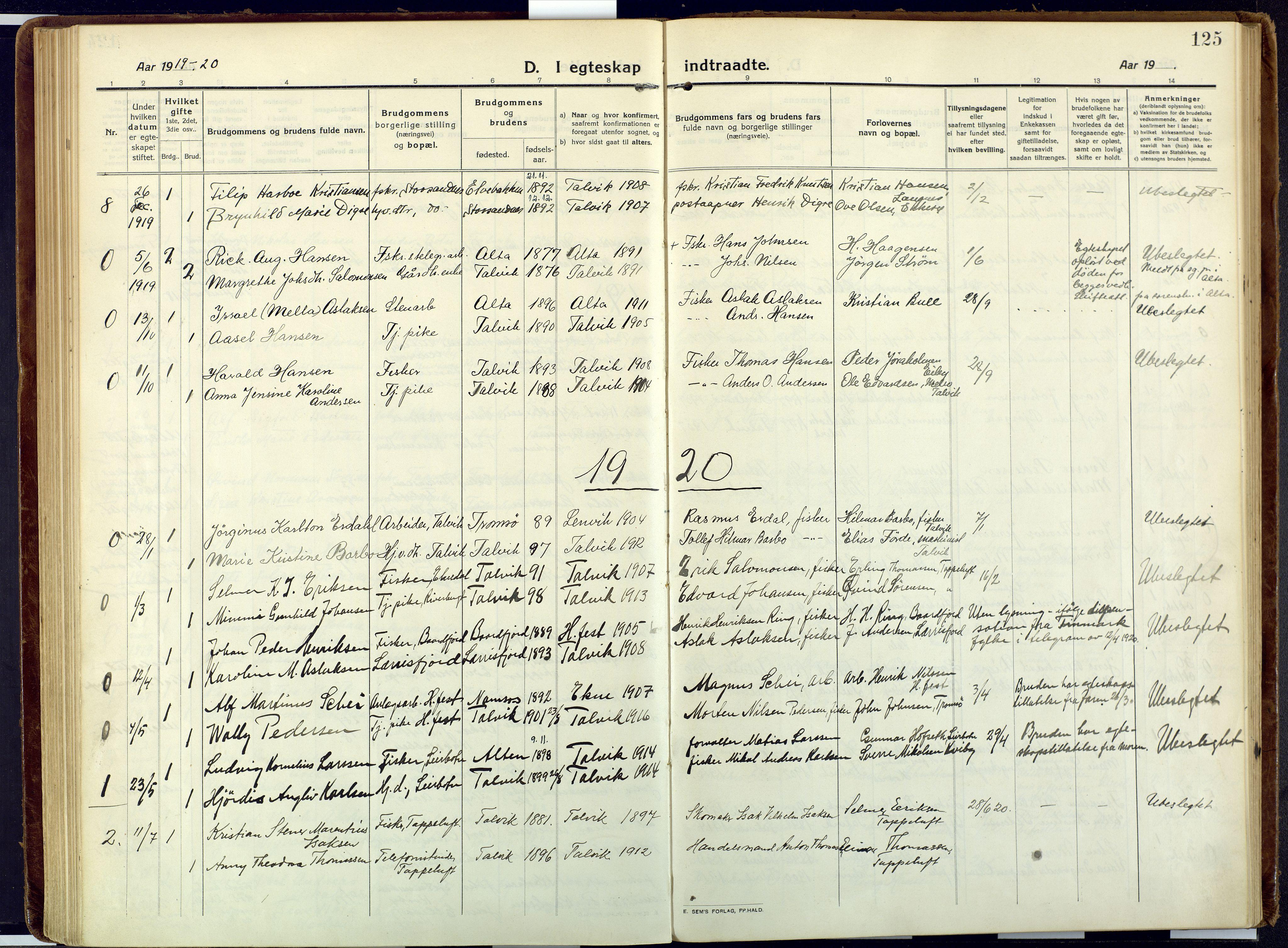 SATØ, Talvik sokneprestkontor, H/Ha/L0018kirke: Ministerialbok nr. 18, 1915-1924, s. 125