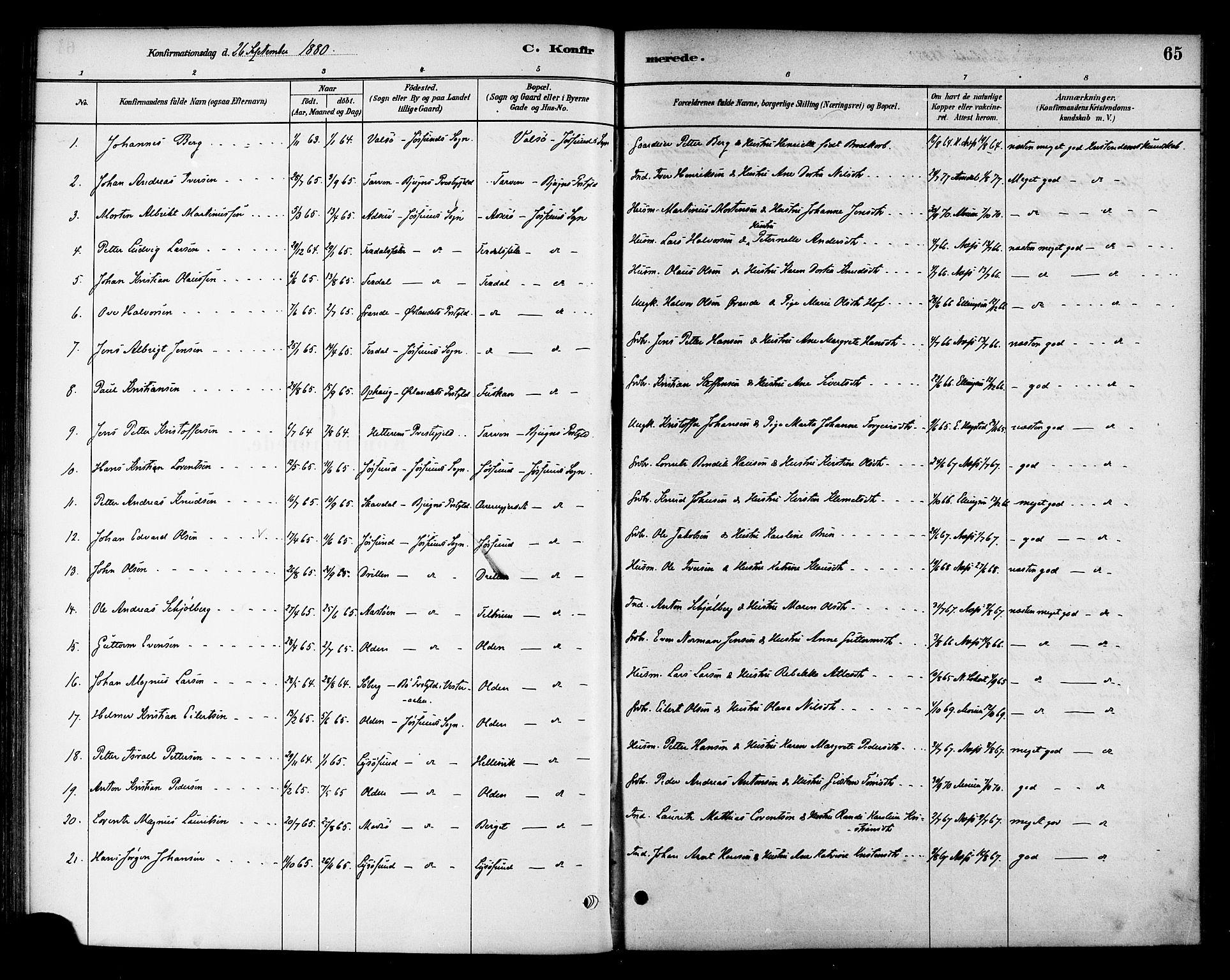 SAT, Ministerialprotokoller, klokkerbøker og fødselsregistre - Sør-Trøndelag, 654/L0663: Ministerialbok nr. 654A01, 1880-1894, s. 65