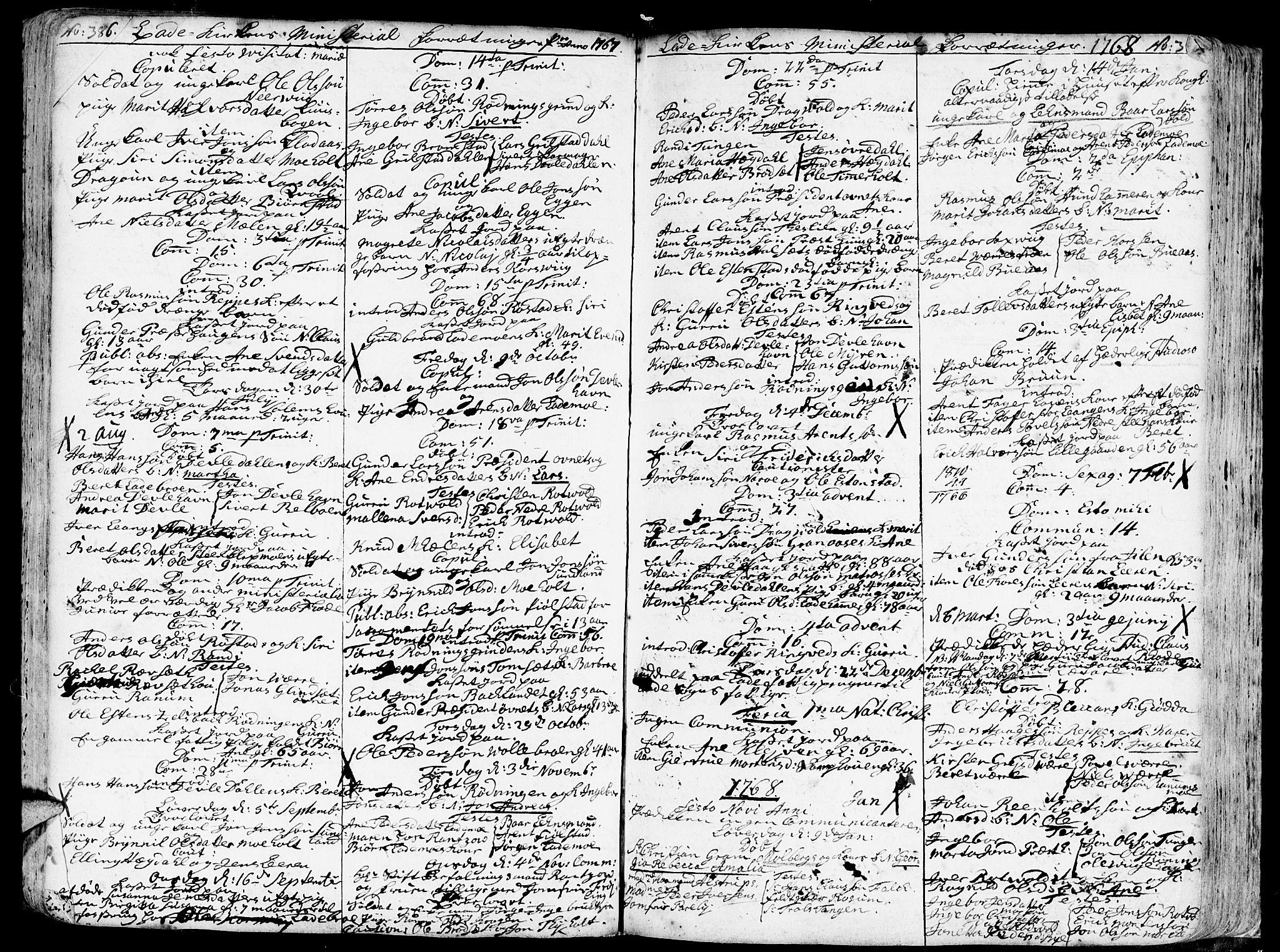 SAT, Ministerialprotokoller, klokkerbøker og fødselsregistre - Sør-Trøndelag, 606/L0275: Ministerialbok nr. 606A01 /1, 1727-1780, s. 386-387
