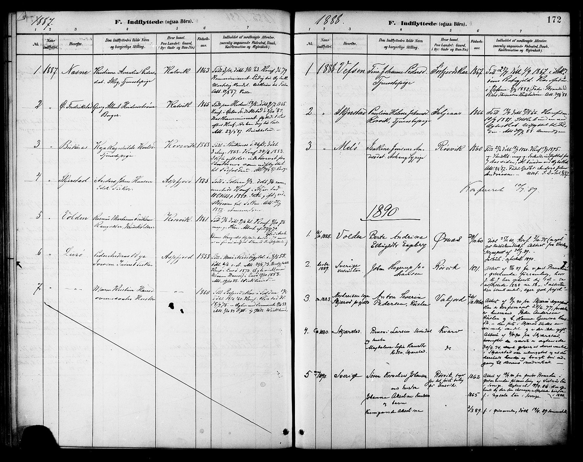 SAT, Ministerialprotokoller, klokkerbøker og fødselsregistre - Nordland, 854/L0777: Ministerialbok nr. 854A01 /1, 1883-1891, s. 172