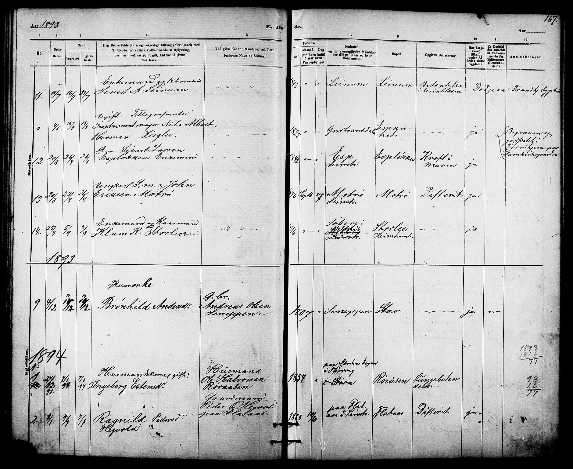 SAT, Ministerialprotokoller, klokkerbøker og fødselsregistre - Sør-Trøndelag, 613/L0395: Klokkerbok nr. 613C03, 1887-1909, s. 167