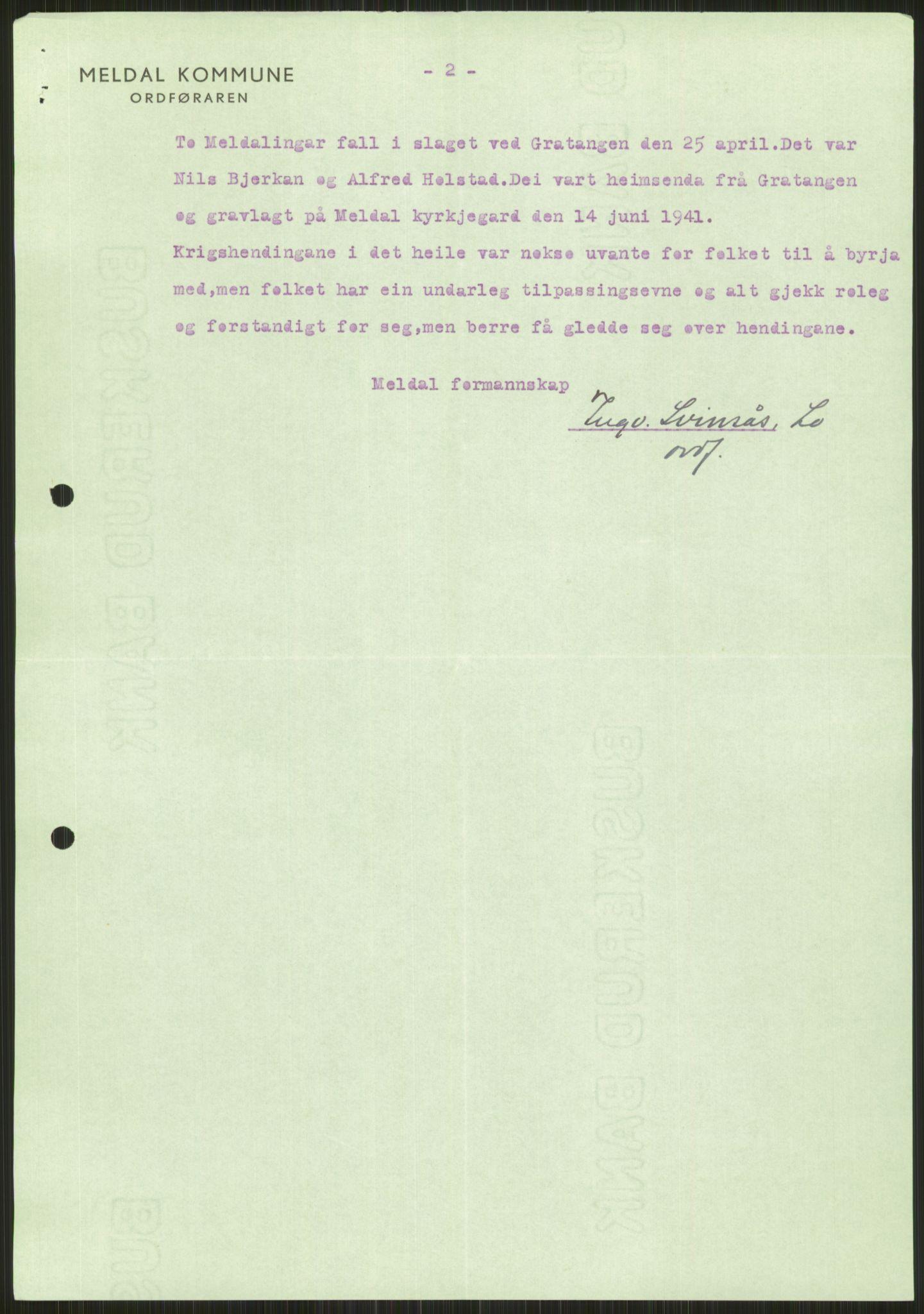RA, Forsvaret, Forsvarets krigshistoriske avdeling, Y/Ya/L0016: II-C-11-31 - Fylkesmenn.  Rapporter om krigsbegivenhetene 1940., 1940, s. 87