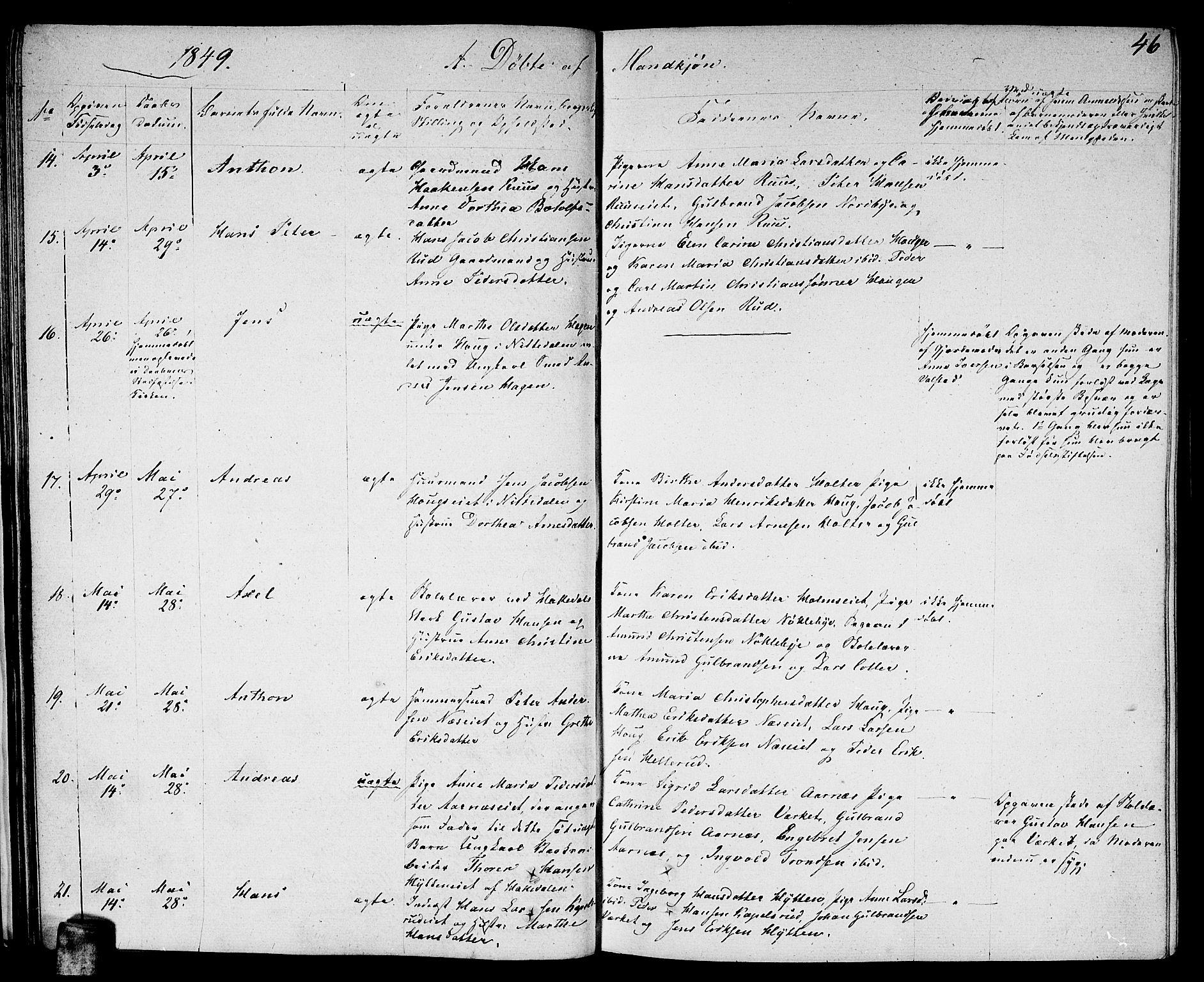 SAO, Nittedal prestekontor Kirkebøker, F/Fa/L0004: Ministerialbok nr. I 4, 1836-1849, s. 46