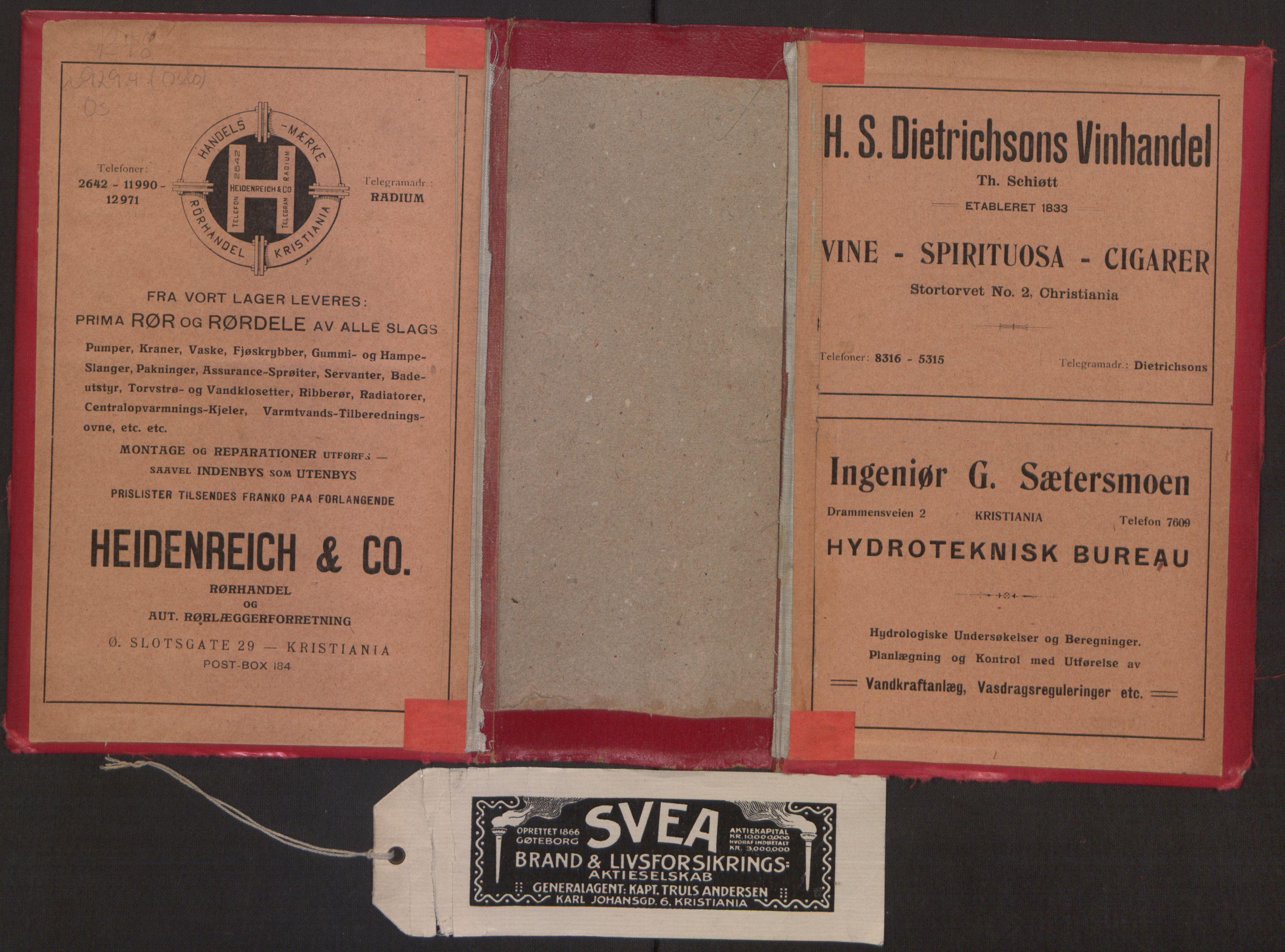 RA, Kristiania adressebok (publikasjon)*, 1916, s. upaginert
