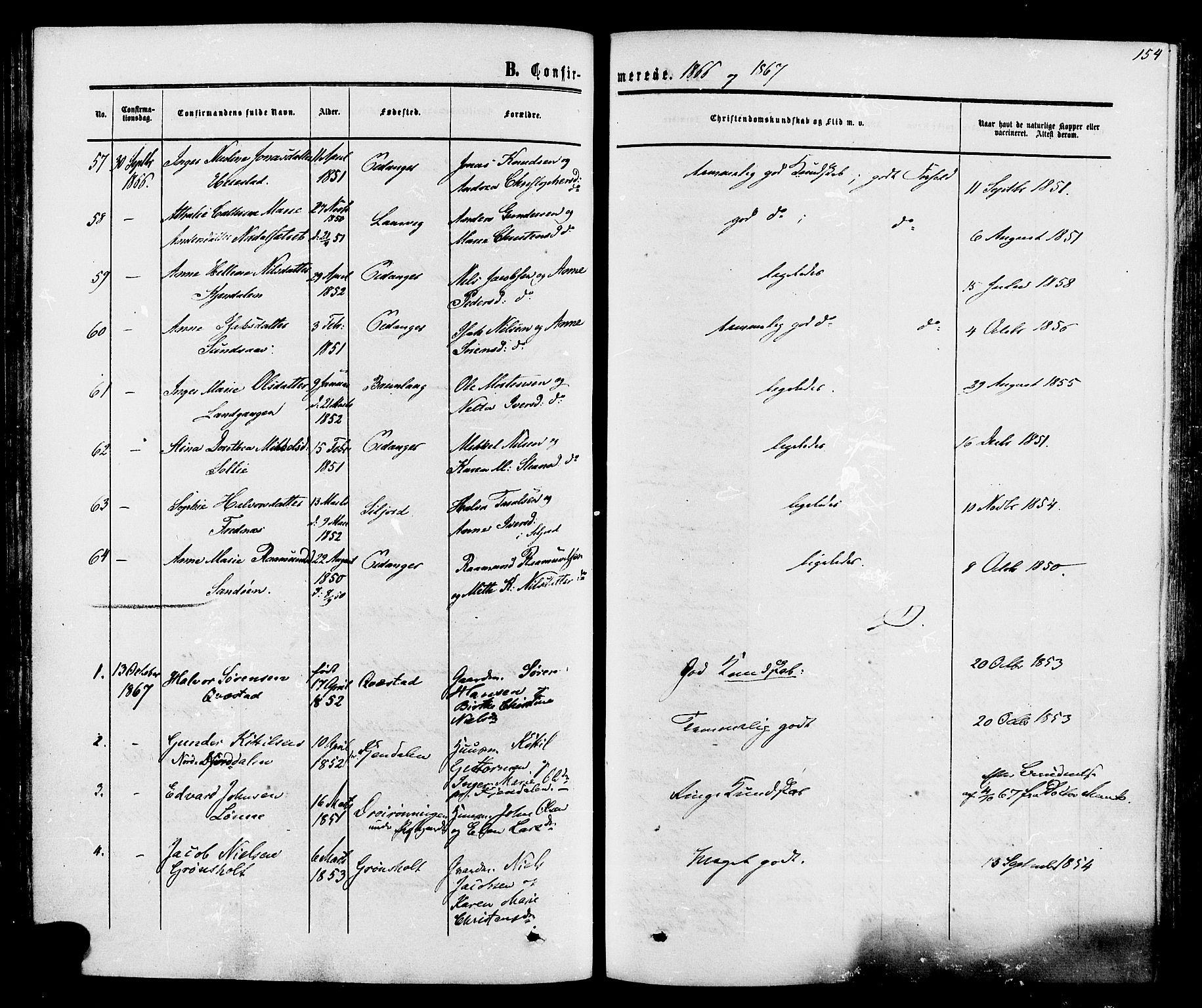 SAKO, Eidanger kirkebøker, F/Fa/L0010: Ministerialbok nr. 10, 1859-1874, s. 154