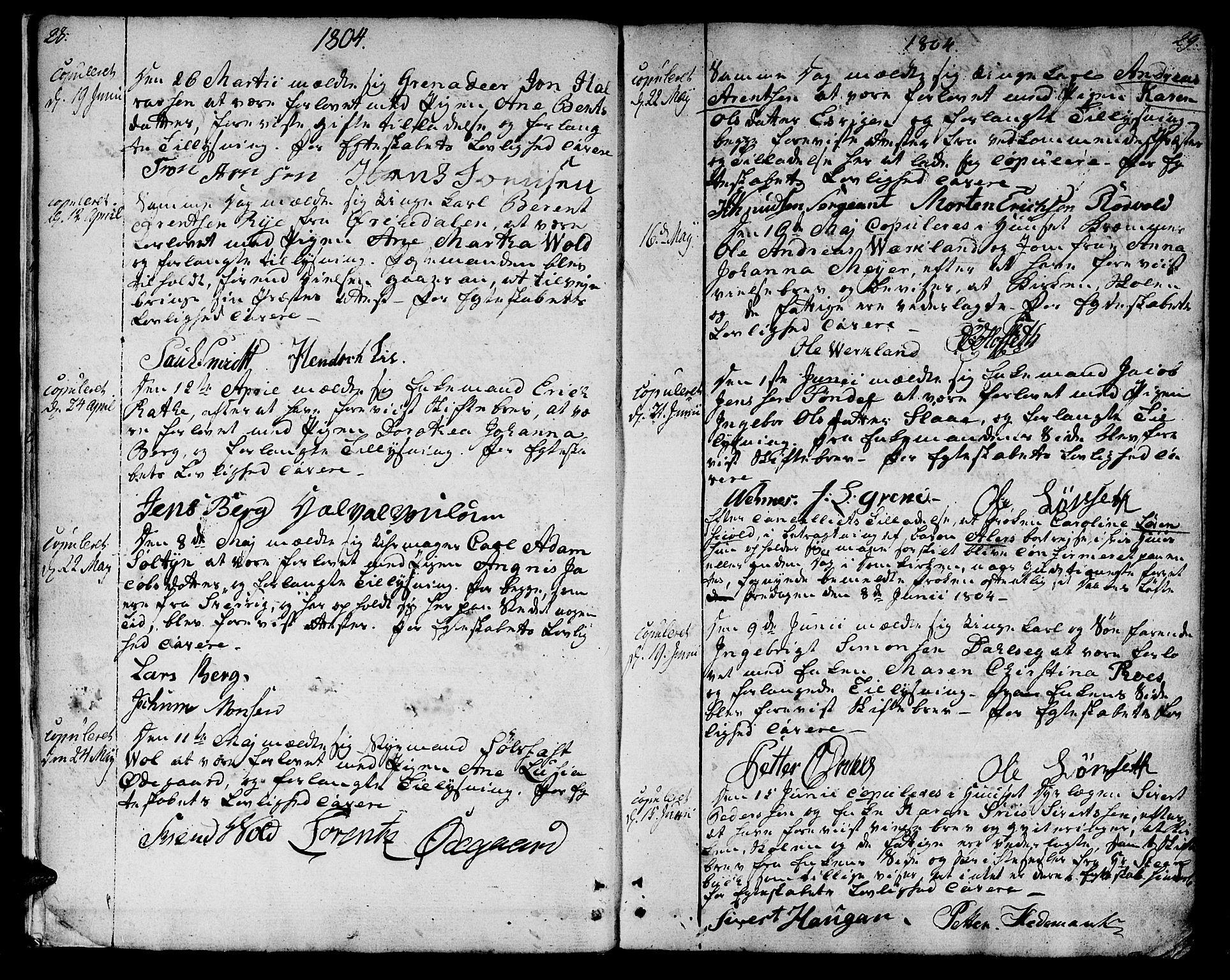 SAT, Ministerialprotokoller, klokkerbøker og fødselsregistre - Sør-Trøndelag, 601/L0042: Ministerialbok nr. 601A10, 1802-1830, s. 28-29