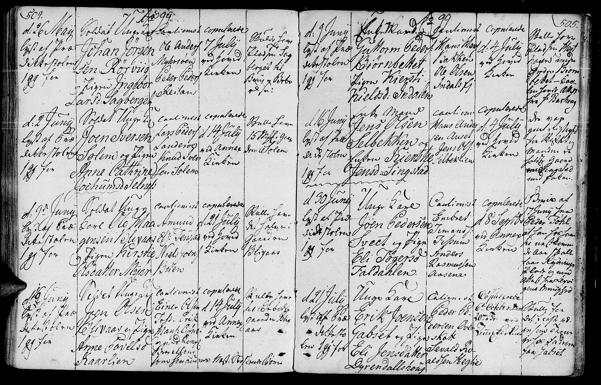 SAT, Ministerialprotokoller, klokkerbøker og fødselsregistre - Sør-Trøndelag, 646/L0606: Ministerialbok nr. 646A04, 1791-1805, s. 504-505