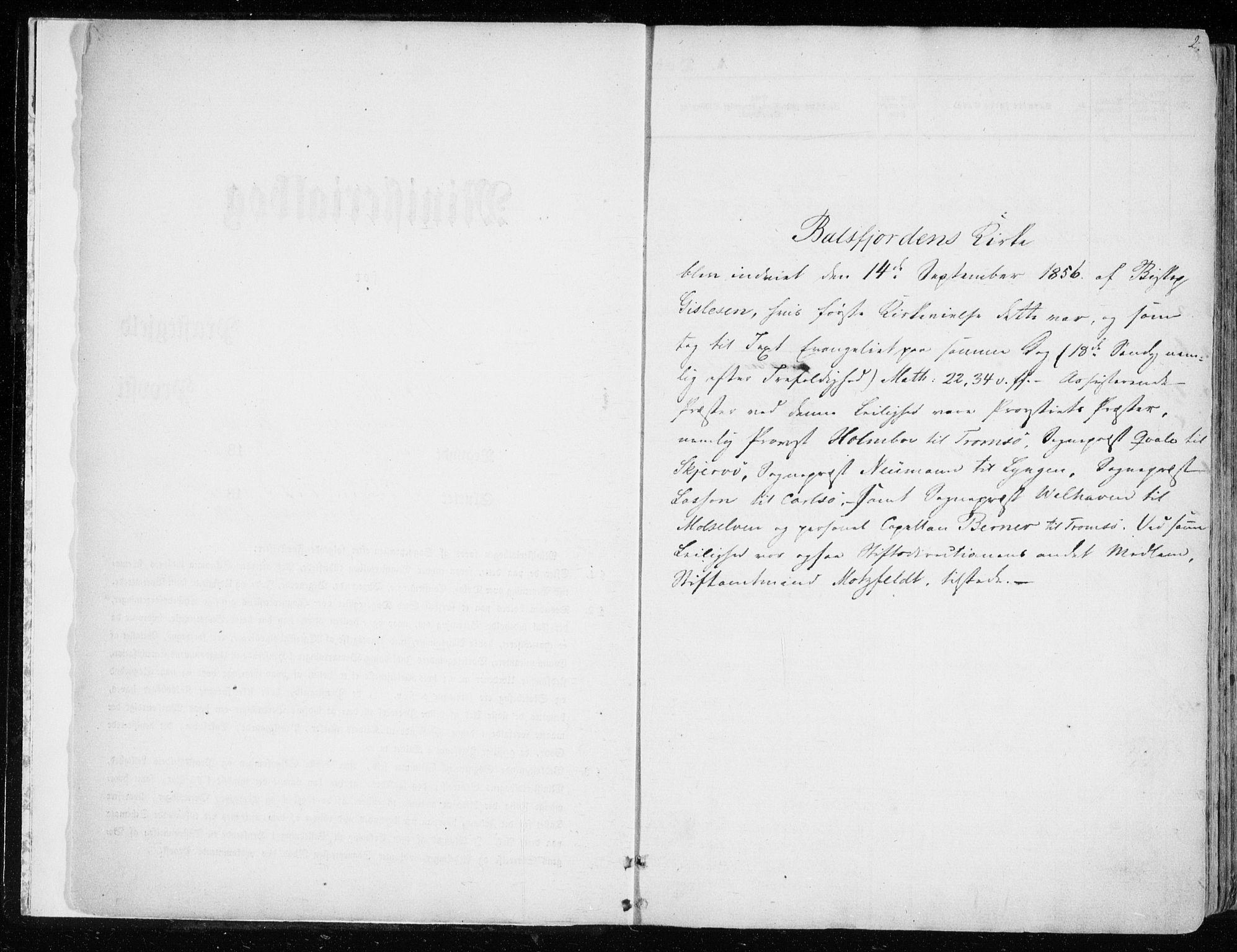 SATØ, Balsfjord sokneprestembete, Ministerialbok nr. 3, 1856-1870, s. 2