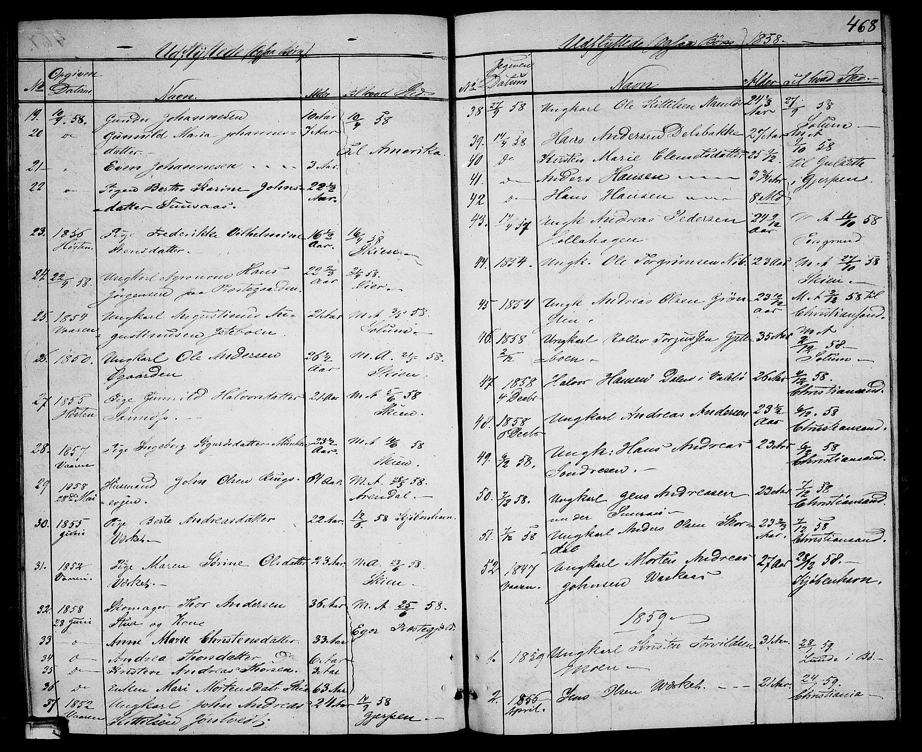 SAKO, Holla kirkebøker, G/Ga/L0003: Klokkerbok nr. I 3, 1849-1866, s. 468