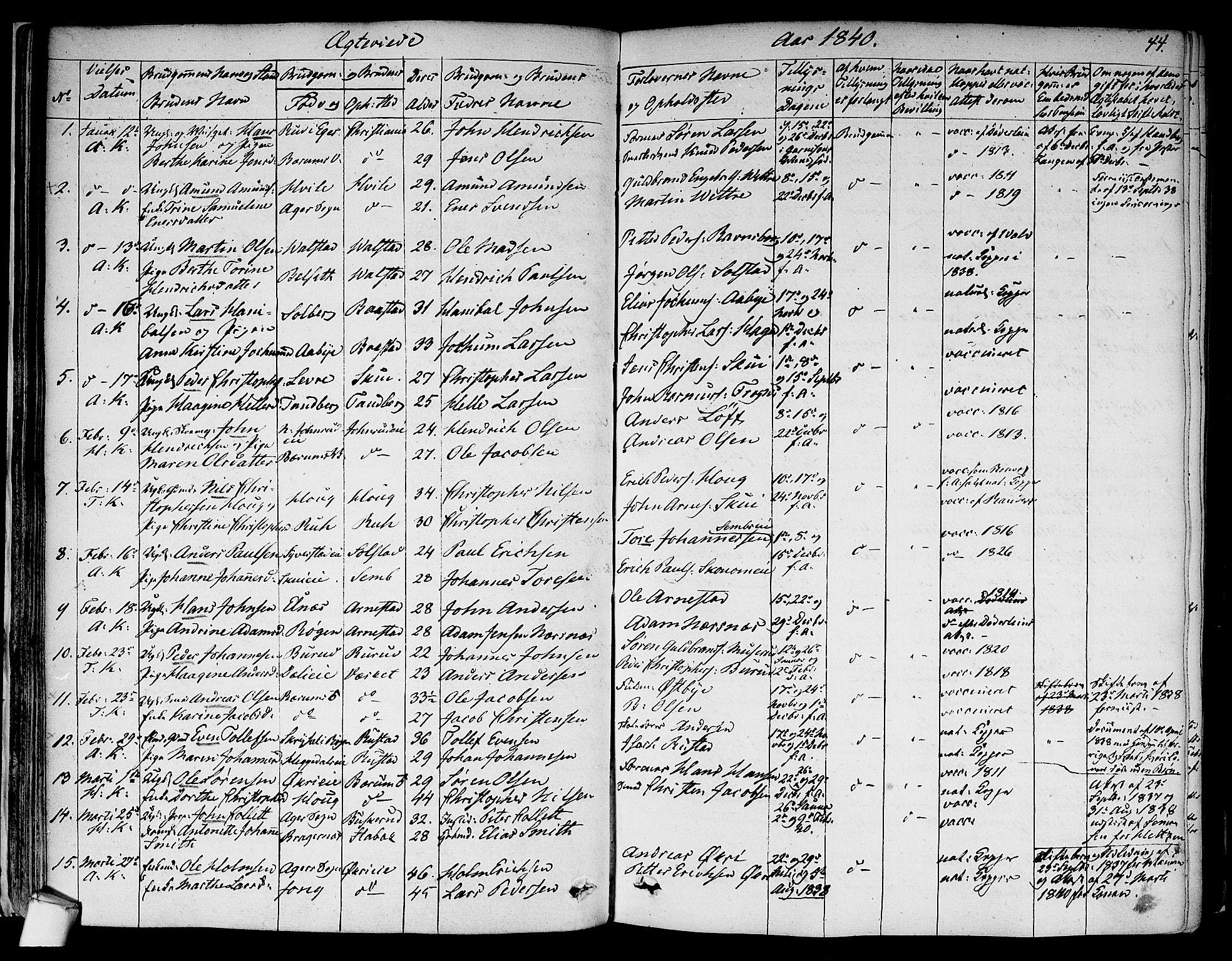 SAO, Asker prestekontor Kirkebøker, F/Fa/L0010: Ministerialbok nr. I 10, 1825-1878, s. 44