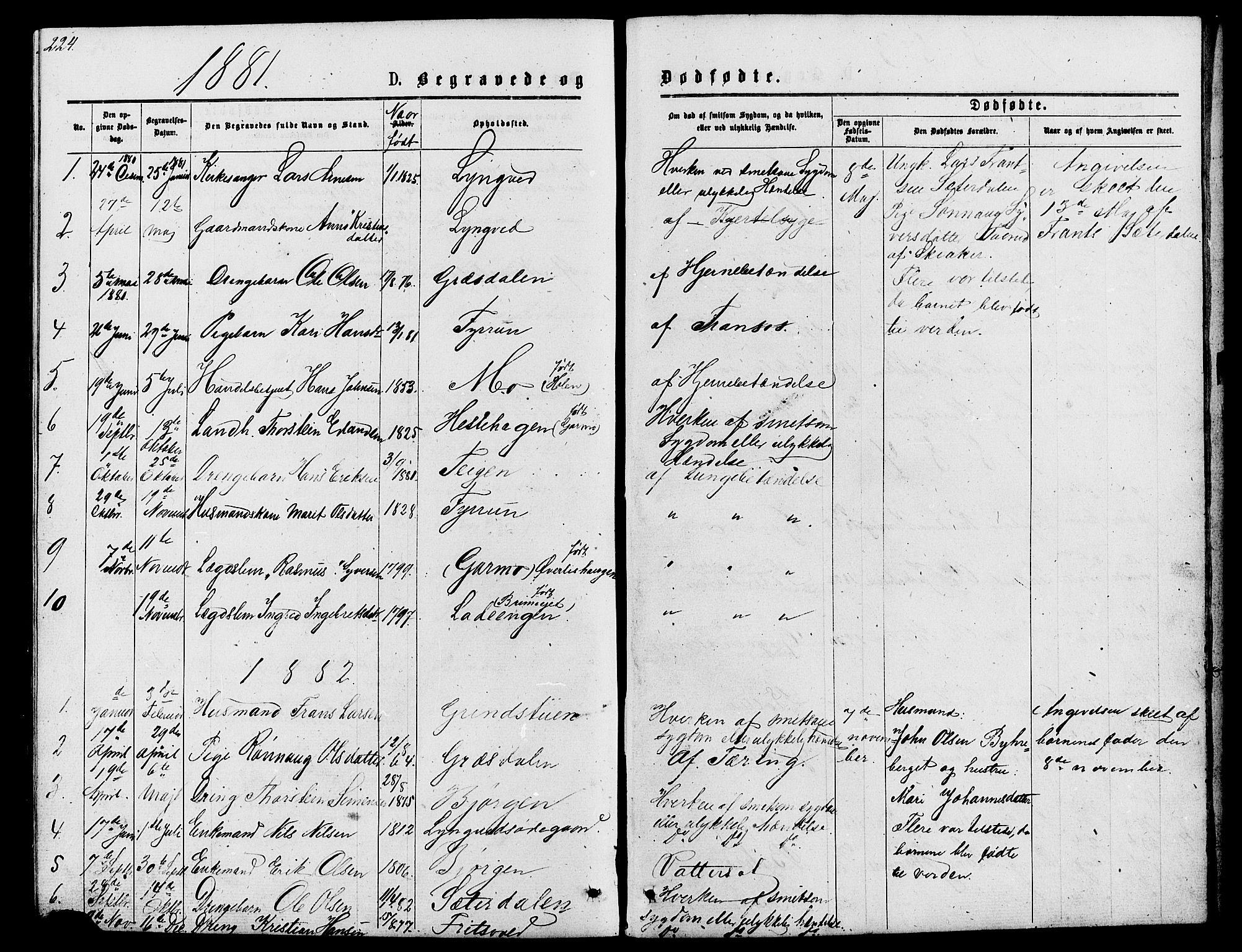 SAH, Lom prestekontor, L/L0005: Klokkerbok nr. 5, 1876-1901, s. 224-225