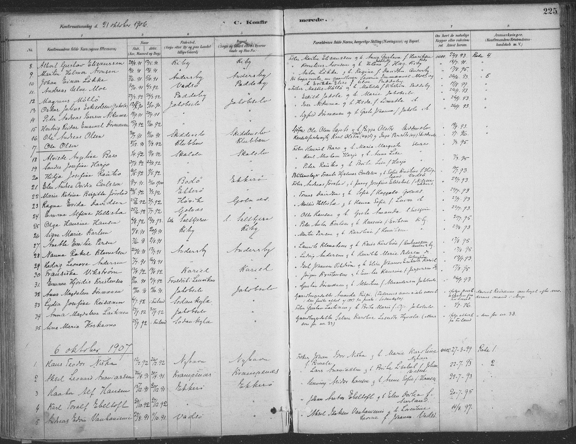 SATØ, Vadsø sokneprestkontor, H/Ha/L0009kirke: Ministerialbok nr. 9, 1881-1917, s. 225