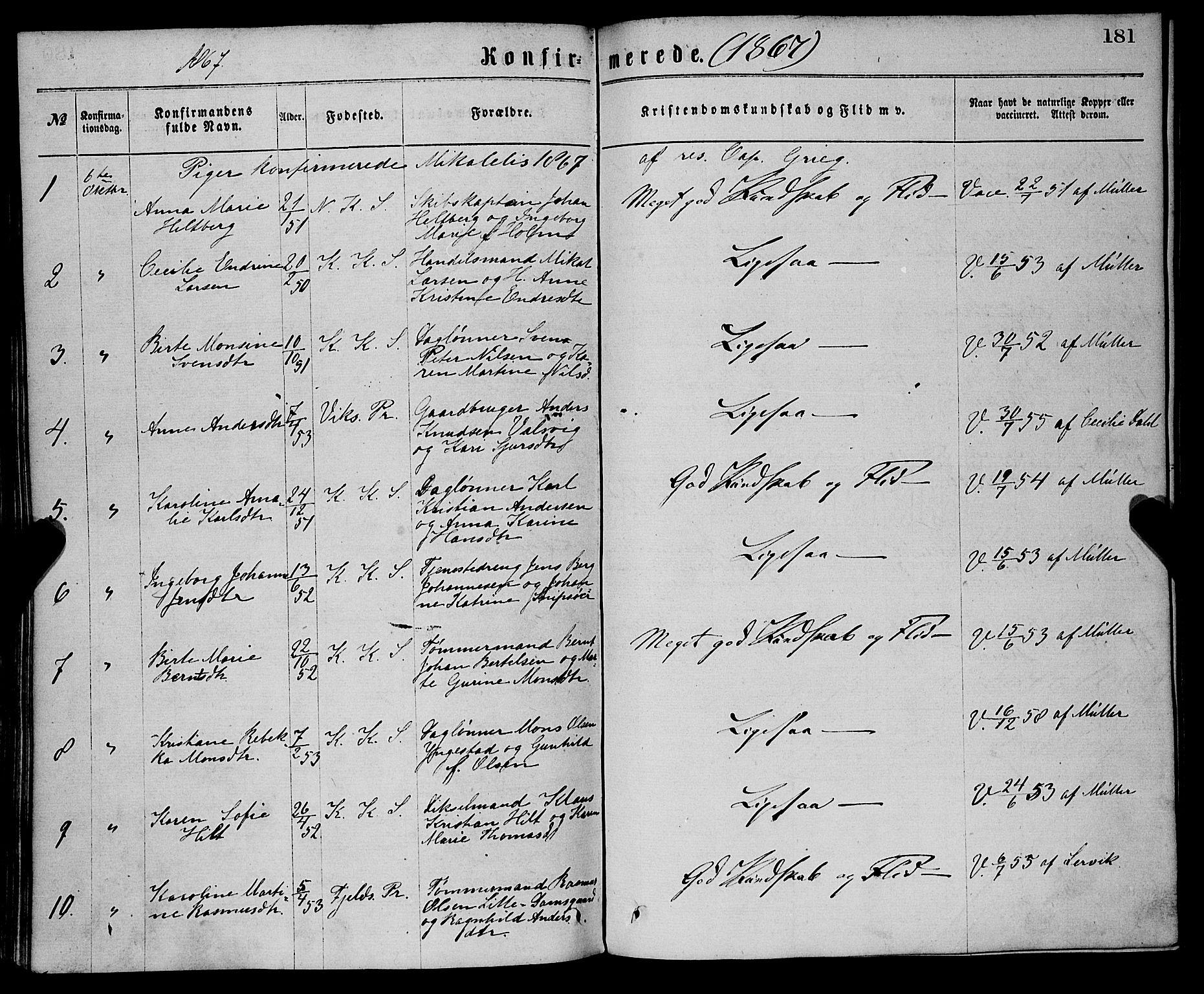 SAB, Sandviken Sokneprestembete, H/Ha/L0001: Ministerialbok nr. A 1, 1867-1877, s. 181
