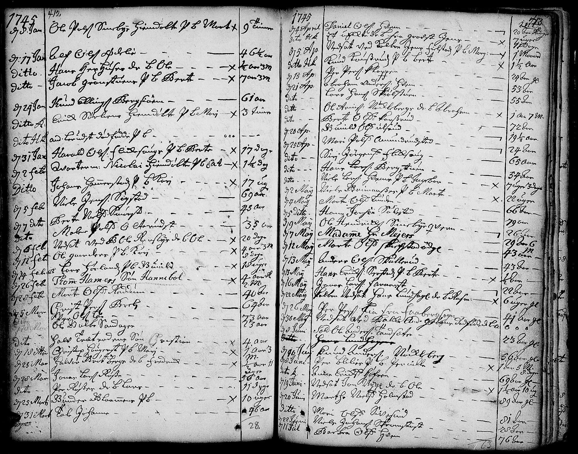 SAH, Toten prestekontor, Ministerialbok nr. 3, 1734-1751, s. 412-413
