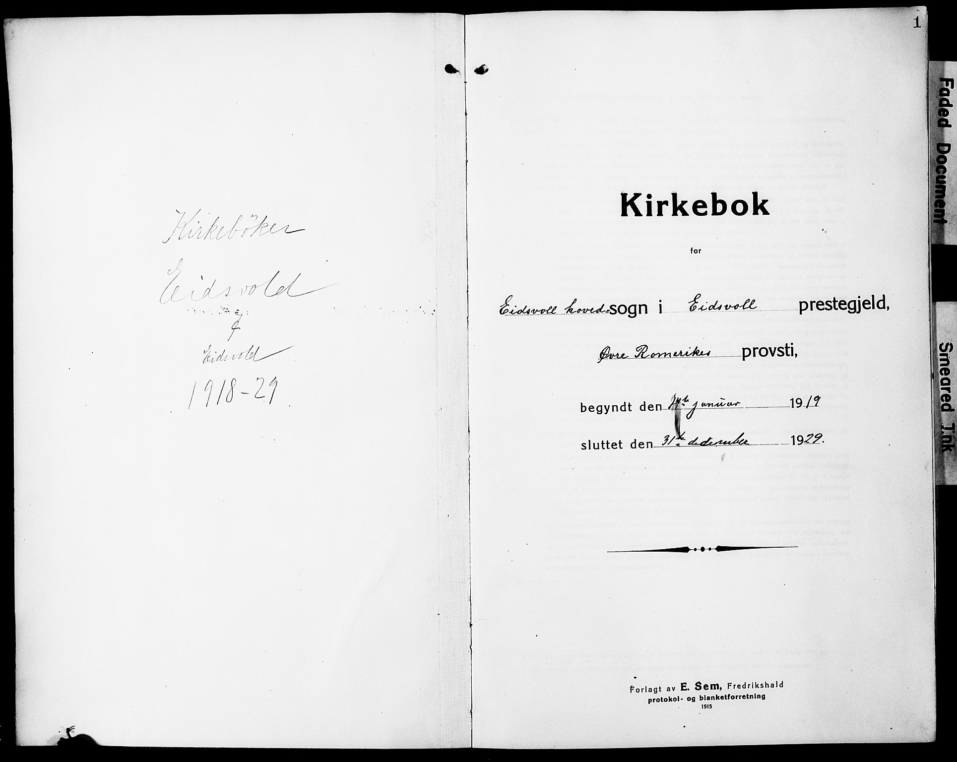 SAO, Eidsvoll prestekontor Kirkebøker, G/Ga/L0010: Klokkerbok nr. I 10, 1919-1929, s. 1