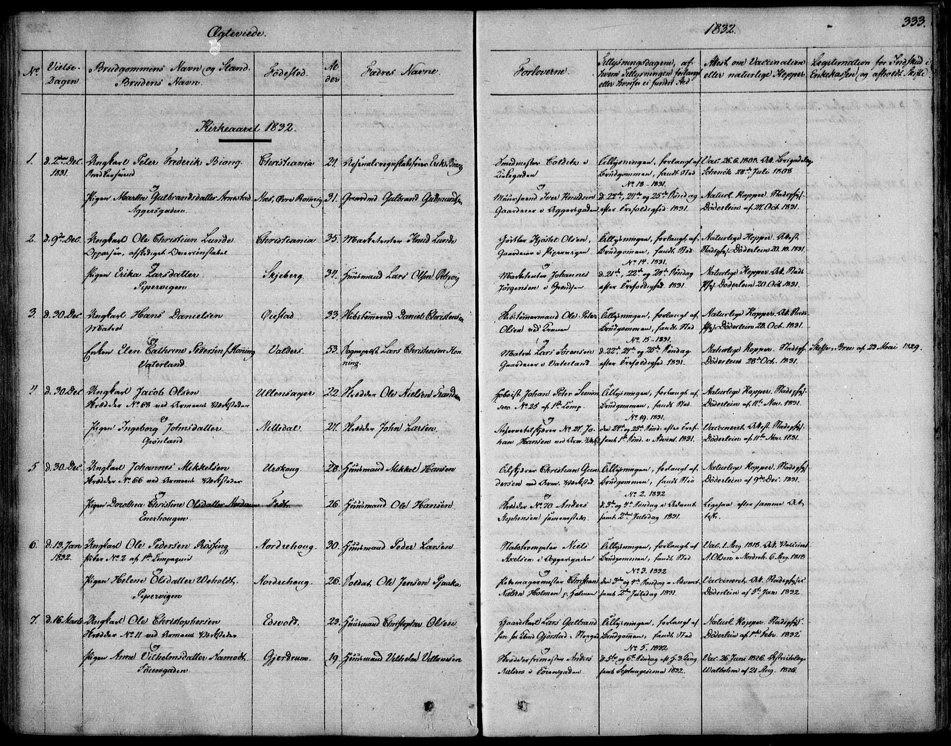 SAO, Garnisonsmenigheten Kirkebøker, F/Fa/L0006: Ministerialbok nr. 6, 1828-1841, s. 333