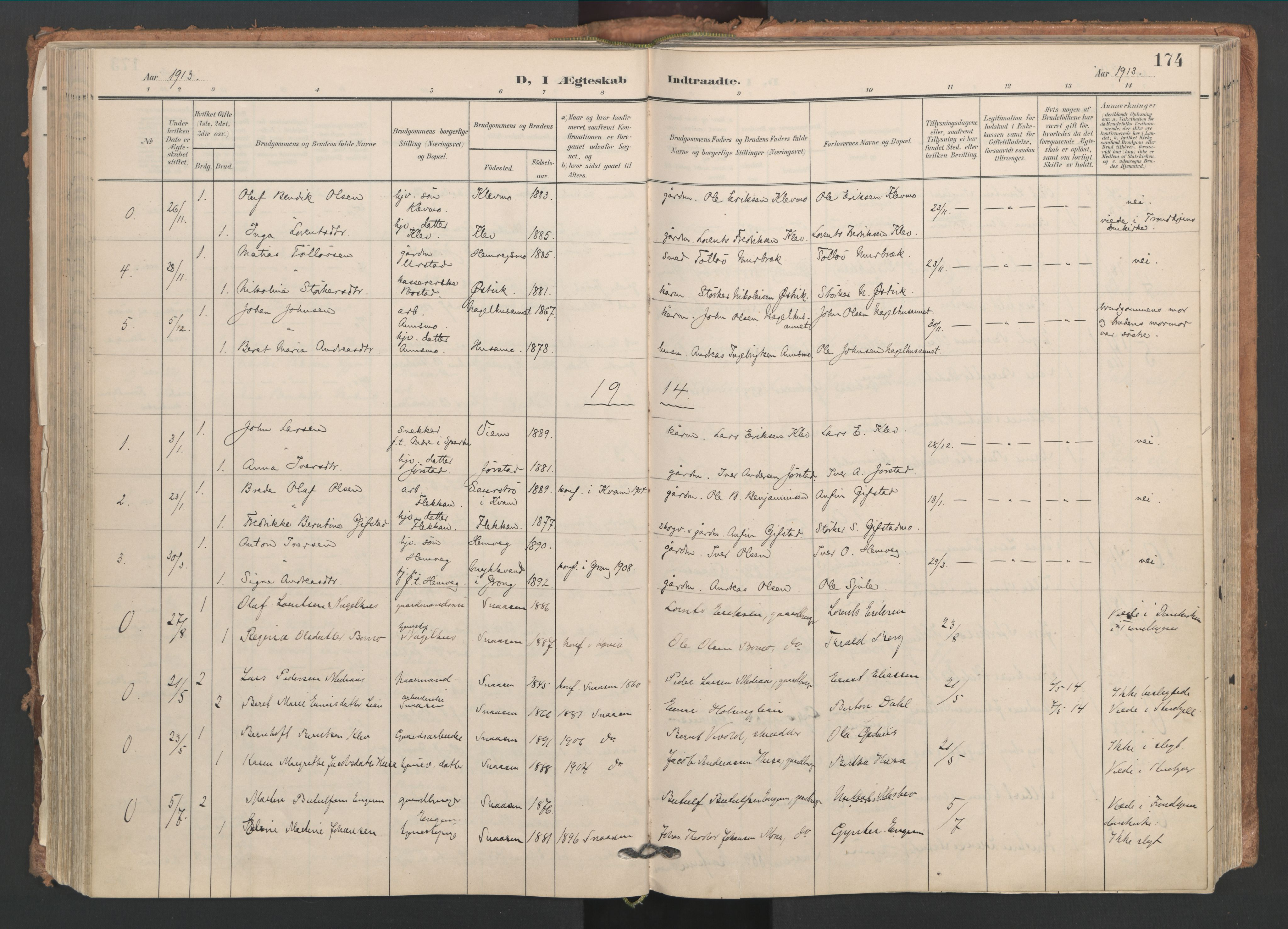 SAT, Ministerialprotokoller, klokkerbøker og fødselsregistre - Nord-Trøndelag, 749/L0477: Ministerialbok nr. 749A11, 1902-1927, s. 174