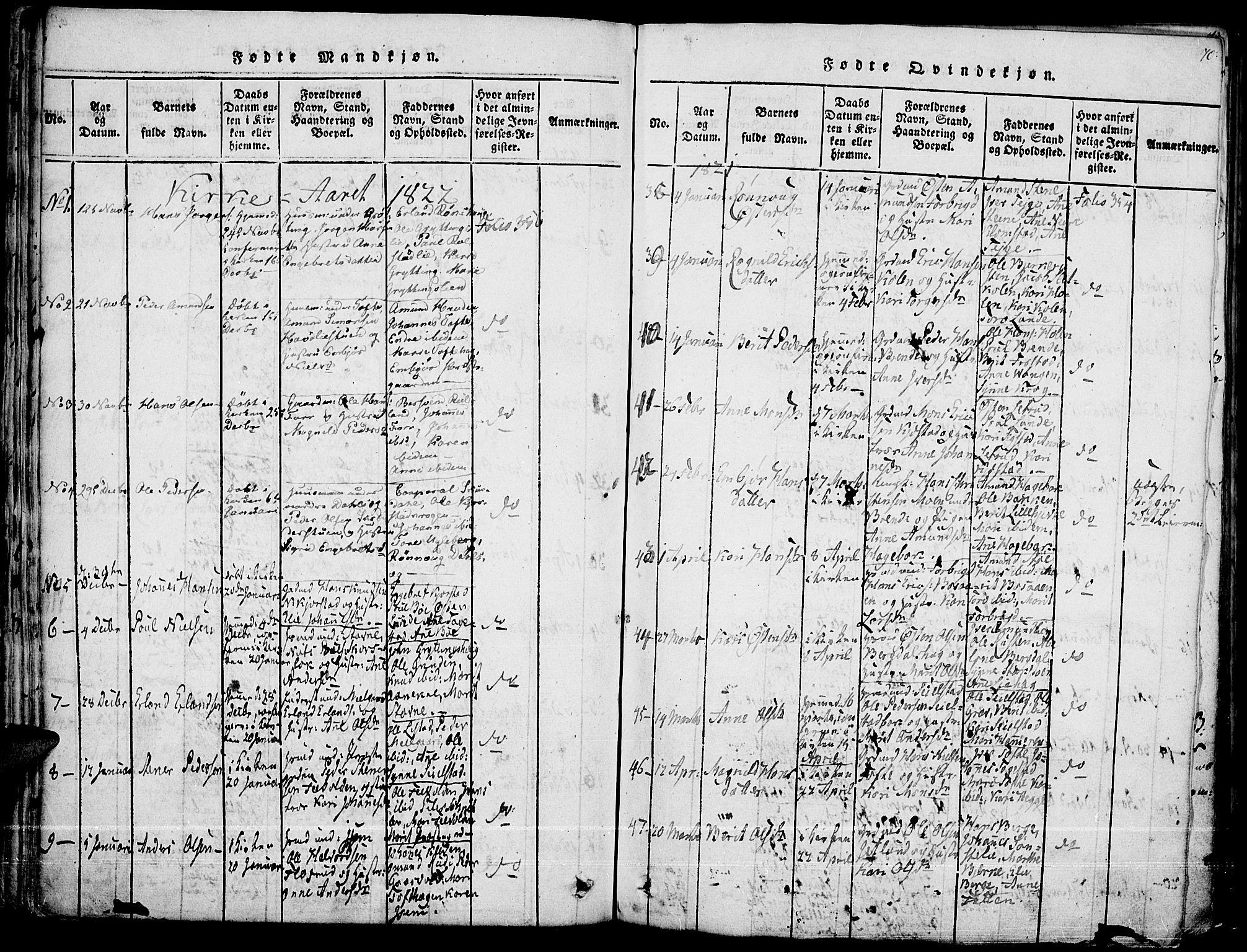 SAH, Fron prestekontor, H/Ha/Haa/L0002: Ministerialbok nr. 2, 1816-1827, s. 70