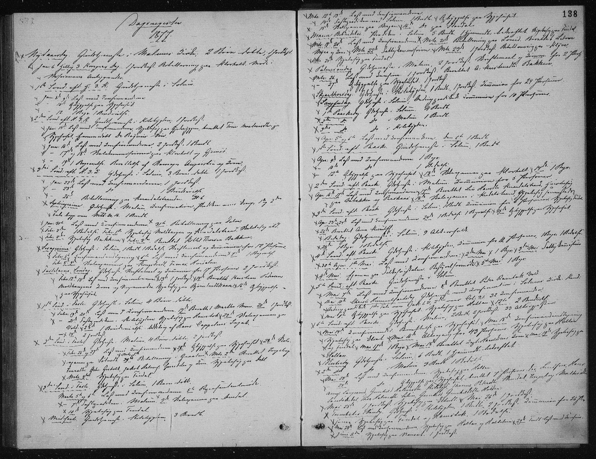 SAKO, Solum kirkebøker, G/Ga/L0005: Klokkerbok nr. I 5, 1877-1881, s. 138