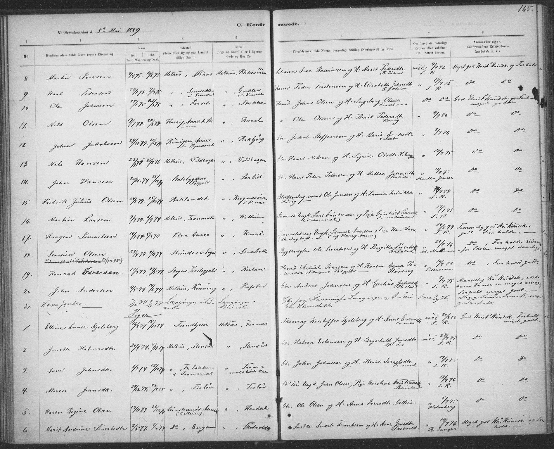SAT, Ministerialprotokoller, klokkerbøker og fødselsregistre - Sør-Trøndelag, 691/L1085: Ministerialbok nr. 691A17, 1887-1908, s. 165