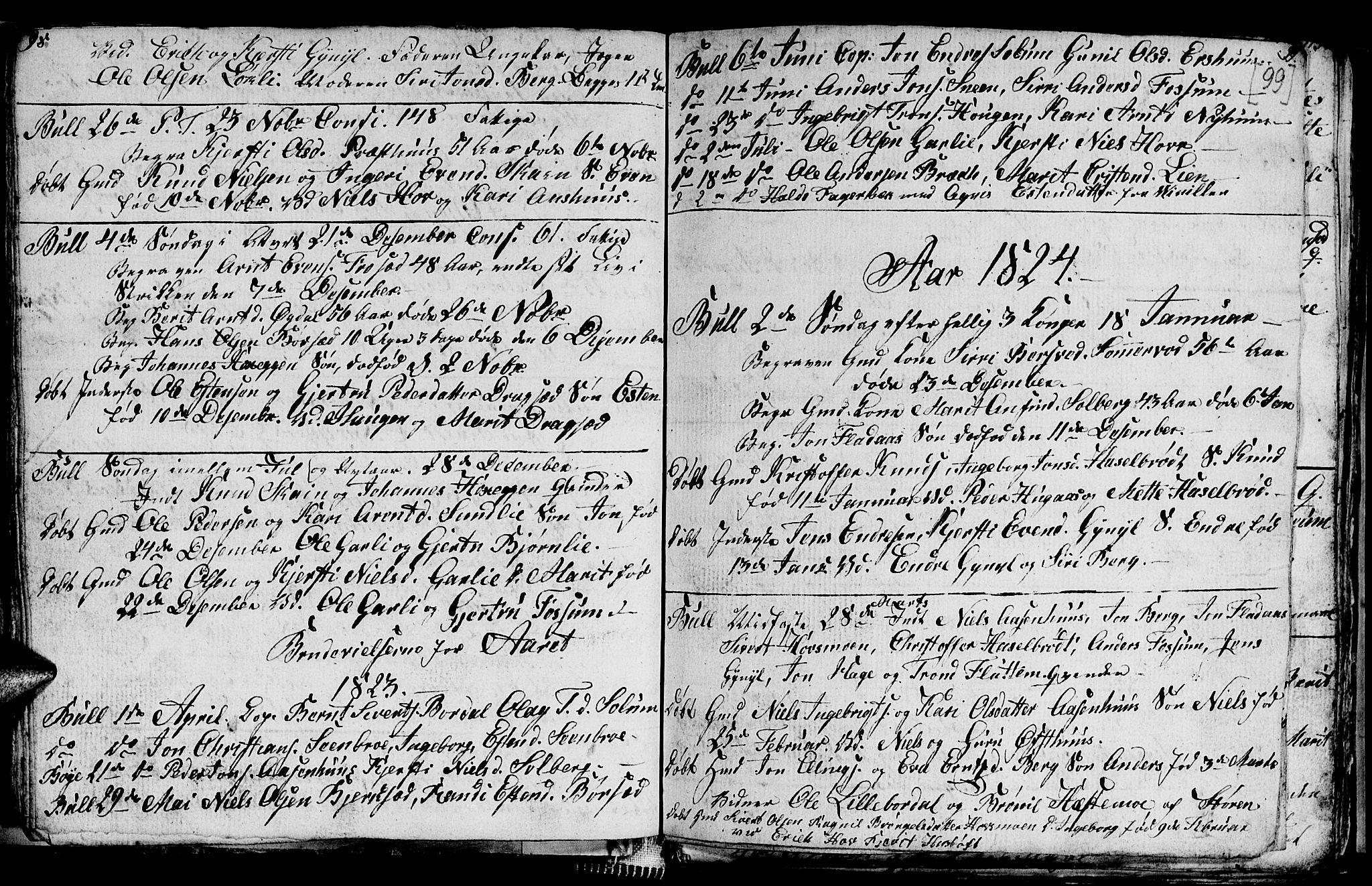 SAT, Ministerialprotokoller, klokkerbøker og fødselsregistre - Sør-Trøndelag, 689/L1042: Klokkerbok nr. 689C01, 1812-1841, s. 98-99