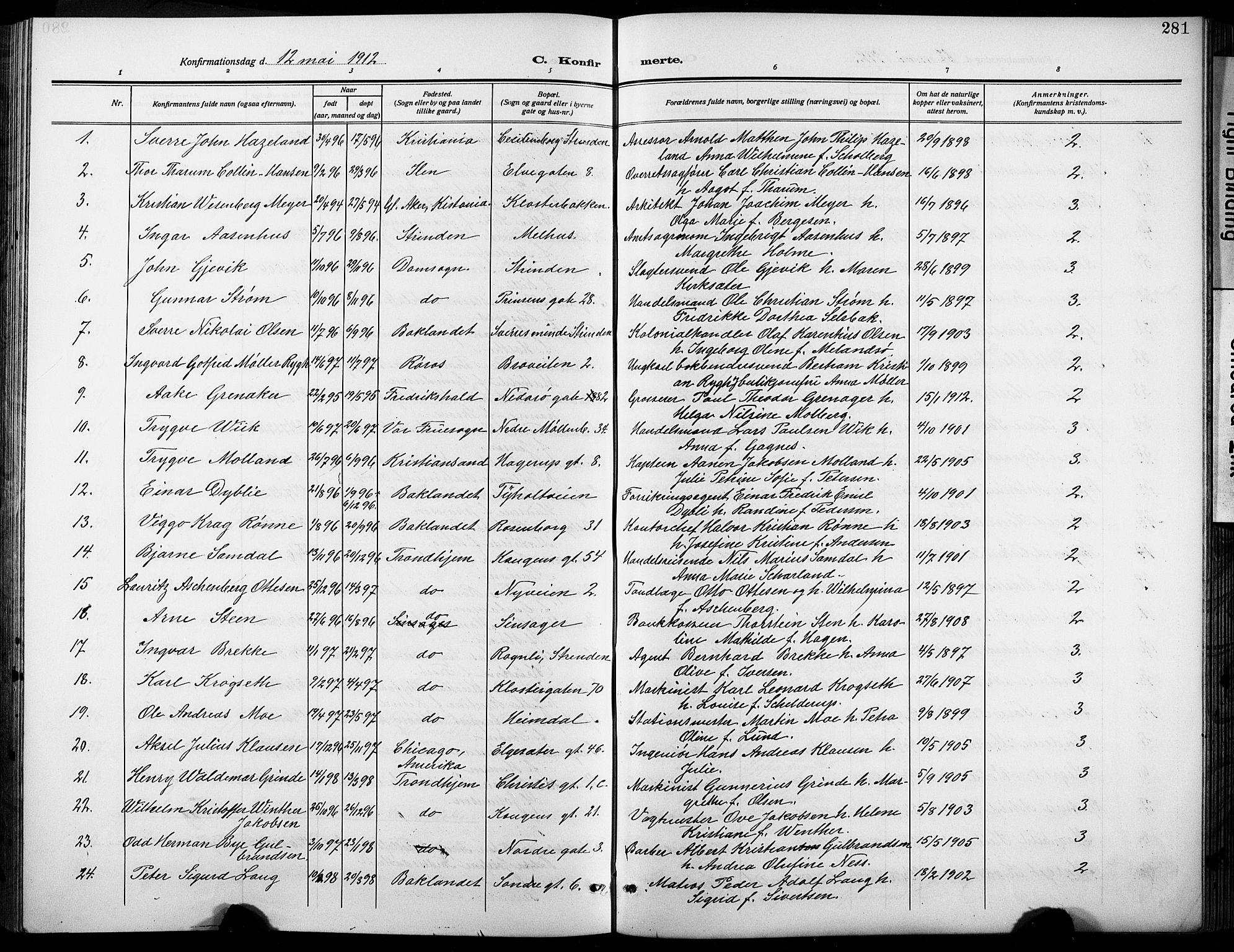 SAT, Ministerialprotokoller, klokkerbøker og fødselsregistre - Sør-Trøndelag, 601/L0096: Klokkerbok nr. 601C14, 1911-1931, s. 281