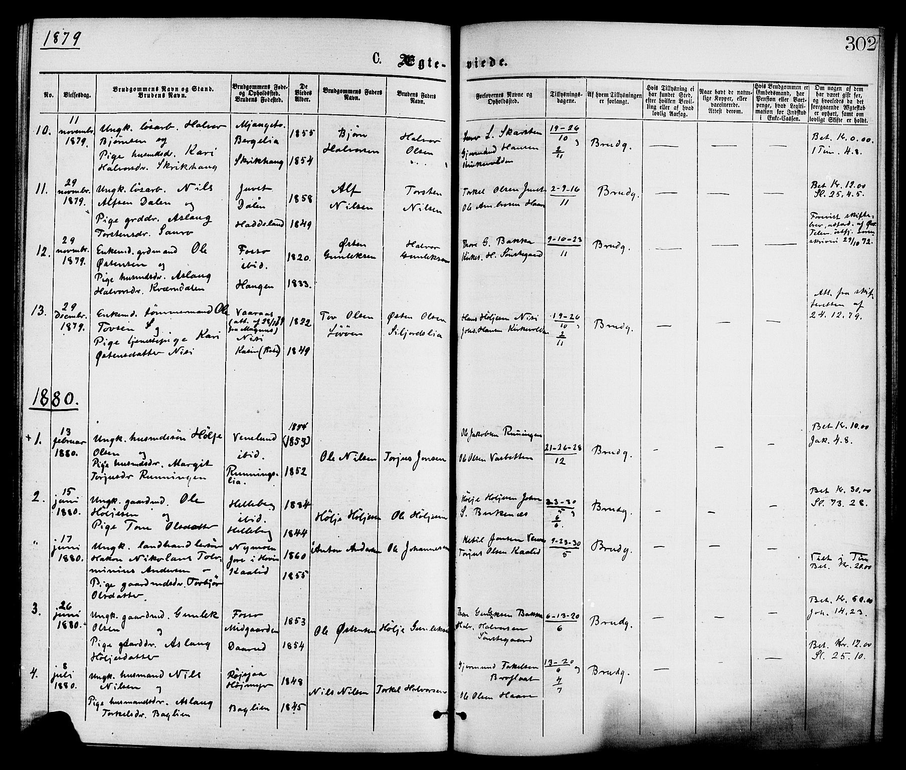SAKO, Gransherad kirkebøker, F/Fa/L0004: Ministerialbok nr. I 4, 1871-1886, s. 302