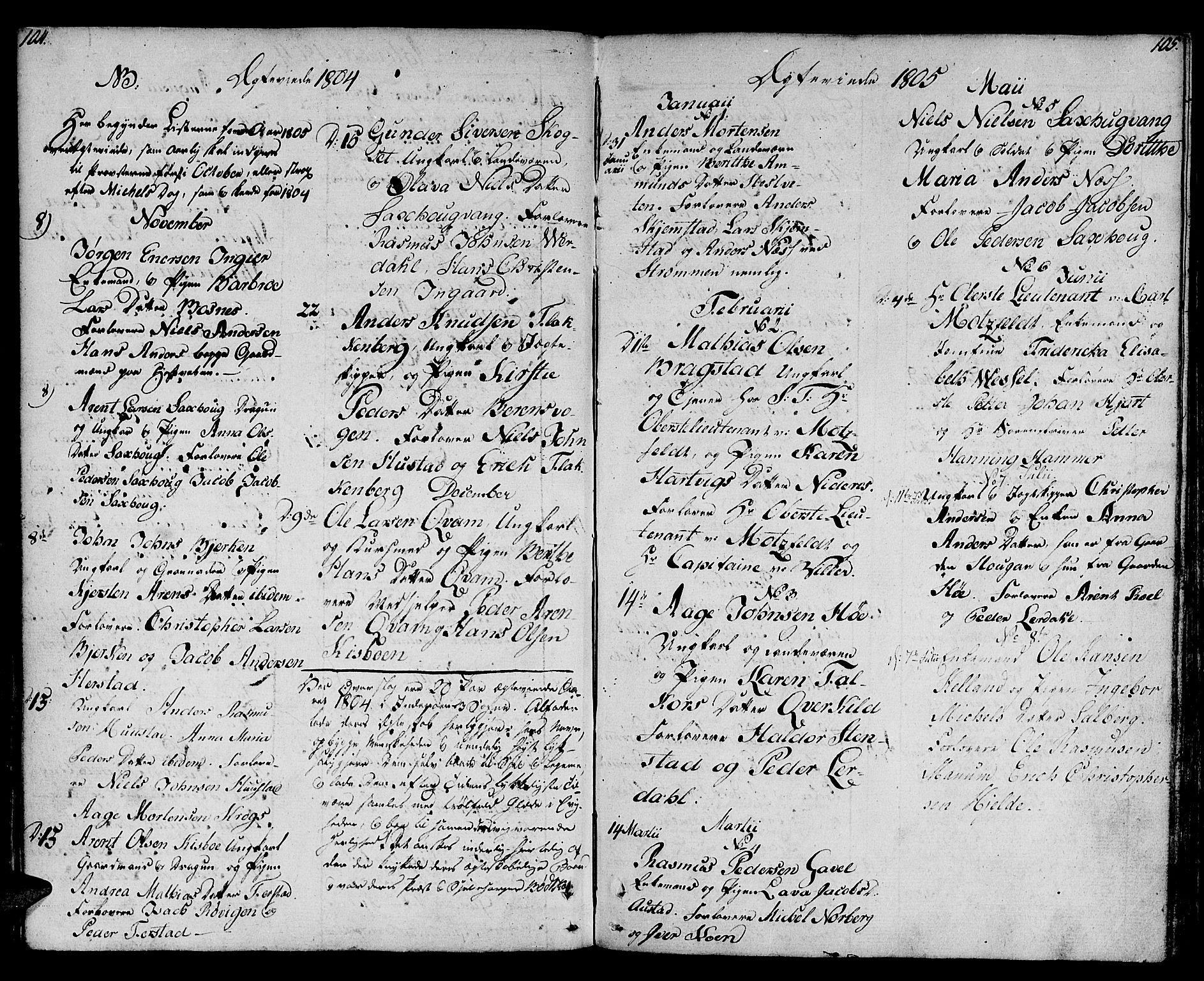 SAT, Ministerialprotokoller, klokkerbøker og fødselsregistre - Nord-Trøndelag, 730/L0274: Ministerialbok nr. 730A03, 1802-1816, s. 104-105