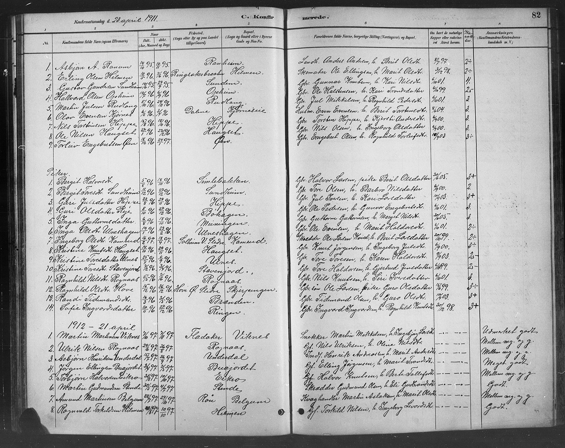 SAH, Nord-Aurdal prestekontor, Klokkerbok nr. 8, 1883-1916, s. 82