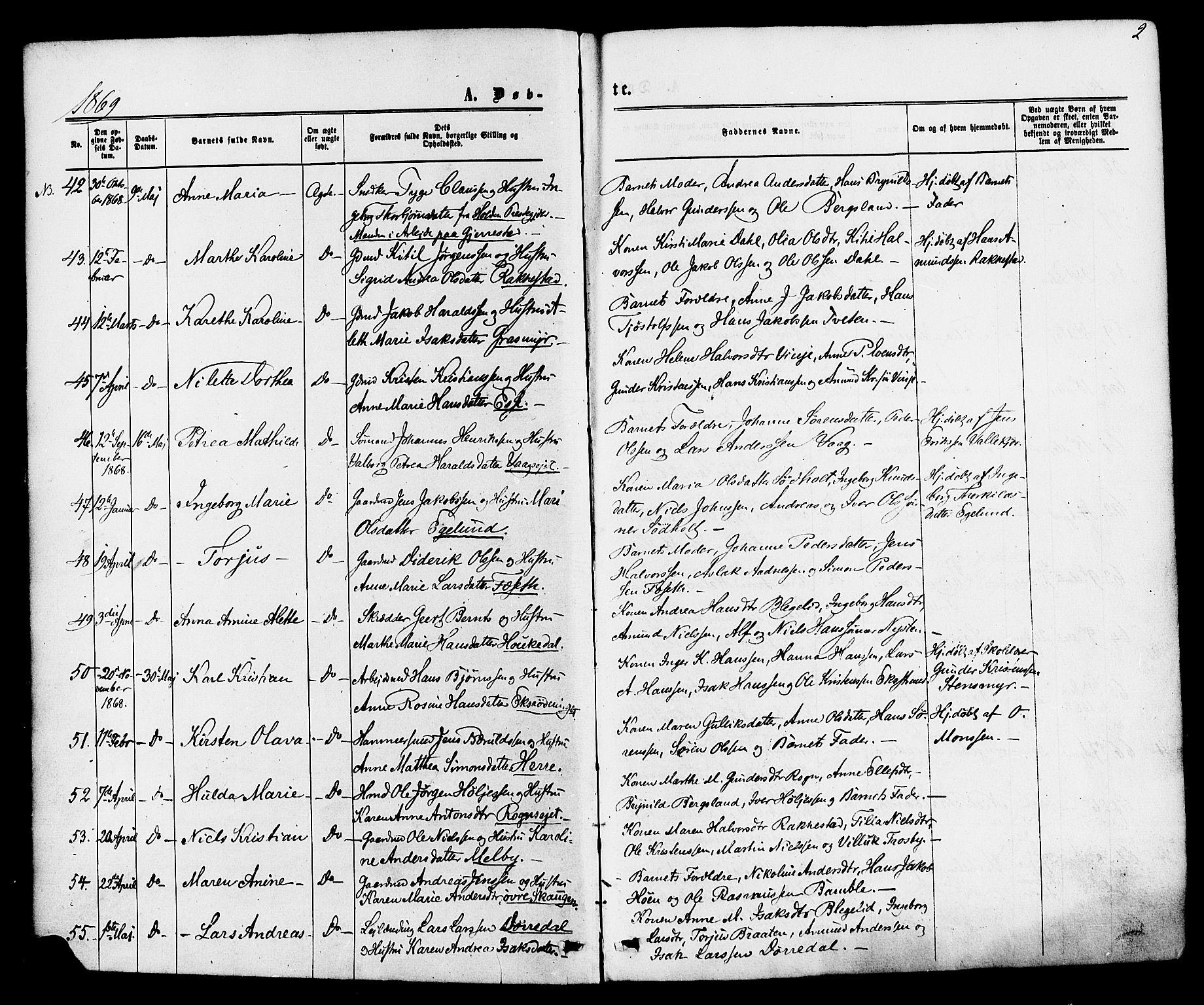SAKO, Bamble kirkebøker, F/Fa/L0006: Ministerialbok nr. I 6, 1869-1877, s. 2