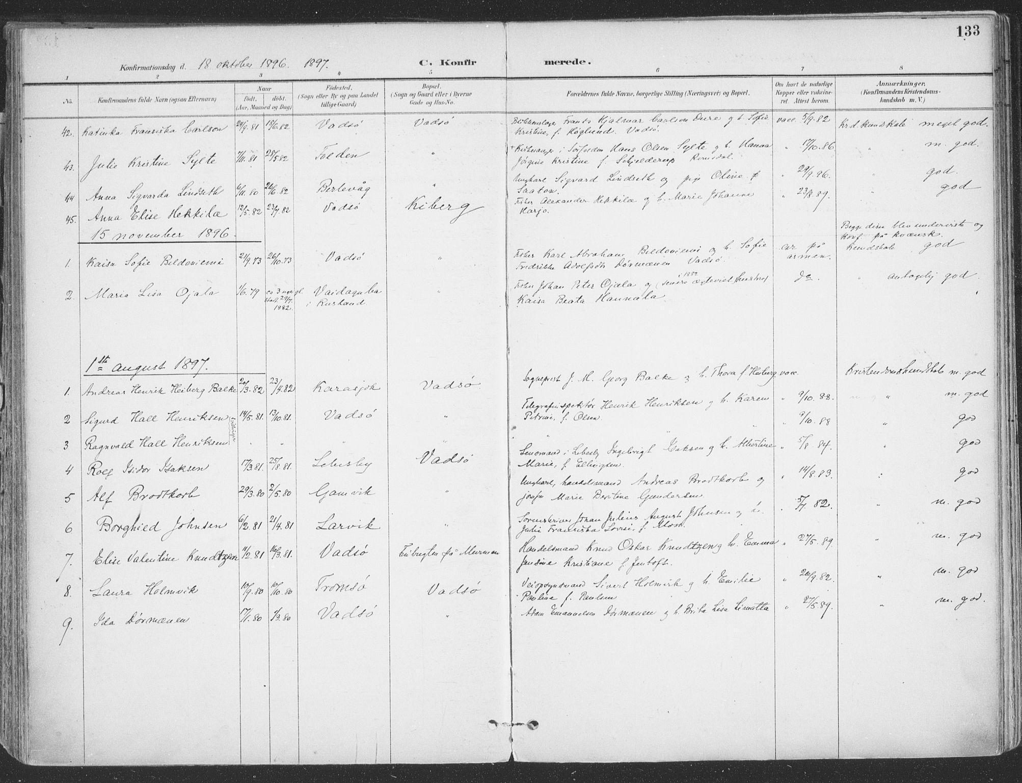SATØ, Vadsø sokneprestkontor, H/Ha/L0007kirke: Ministerialbok nr. 7, 1896-1916, s. 133