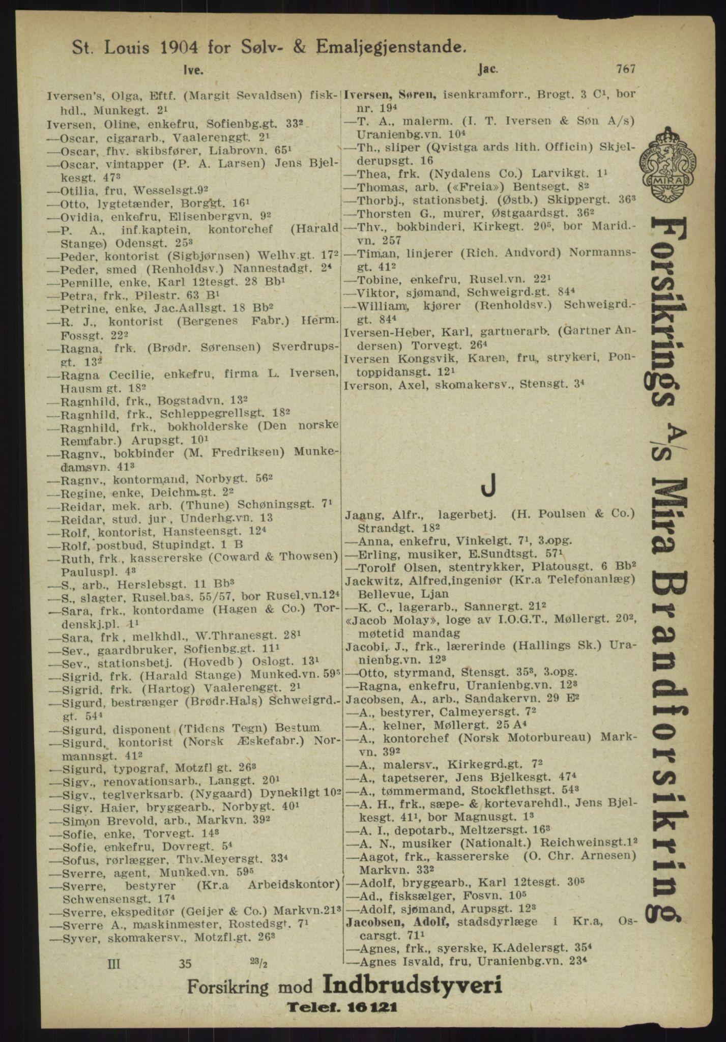 RA, Kristiania adressebok (publikasjon)*, 1918, s. 767