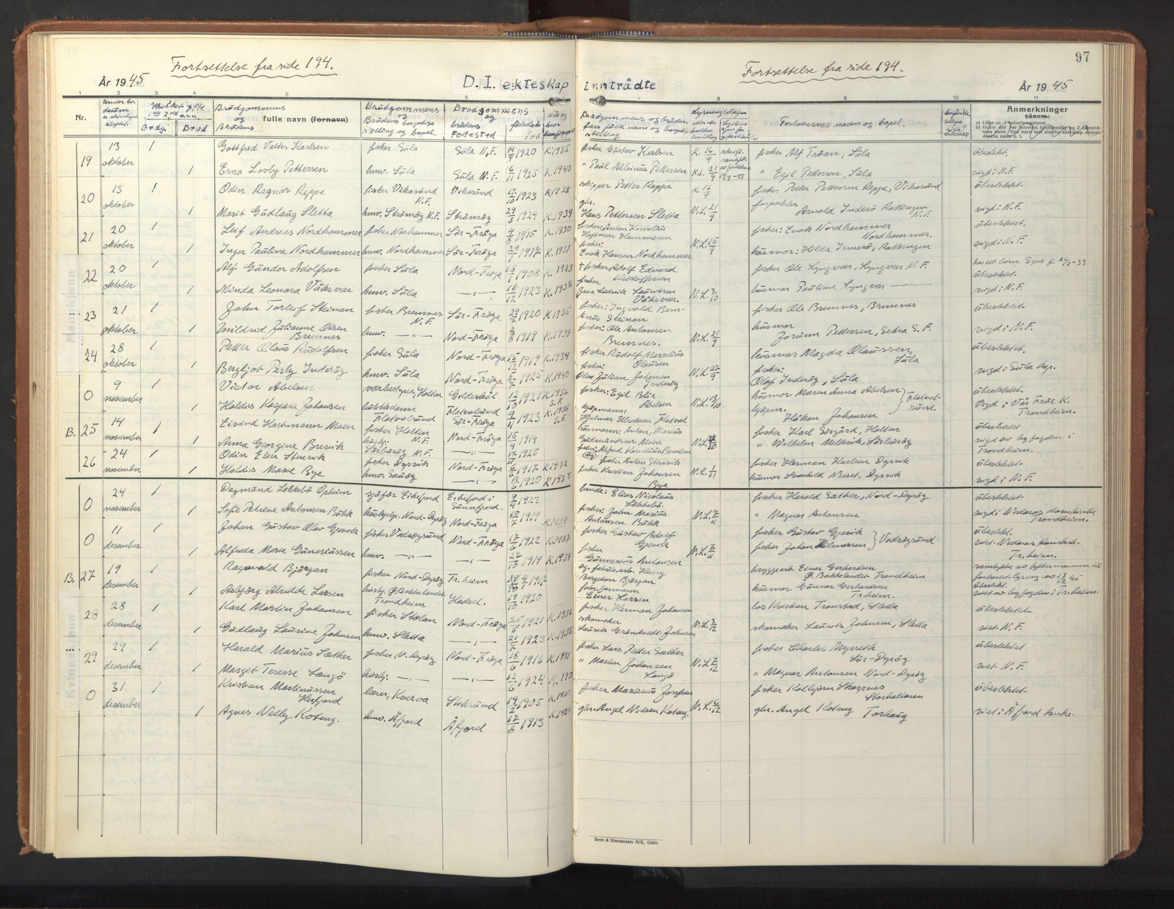SAT, Ministerialprotokoller, klokkerbøker og fødselsregistre - Sør-Trøndelag, 640/L0590: Klokkerbok nr. 640C07, 1935-1948, s. 97