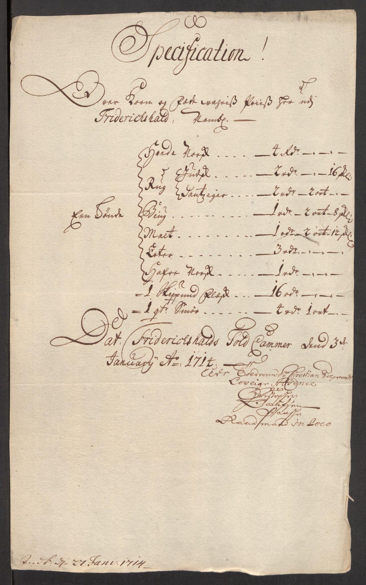 RA, Rentekammeret inntil 1814, Realistisk ordnet avdeling, Oe/L0001: [Ø1]: Priskuranter, 1712-1739, s. 18