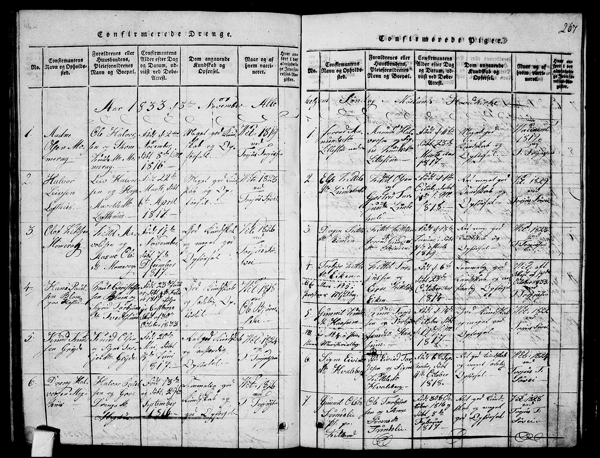 SAKO, Fyresdal kirkebøker, G/Ga/L0001: Klokkerbok nr. I 1, 1816-1840, s. 267