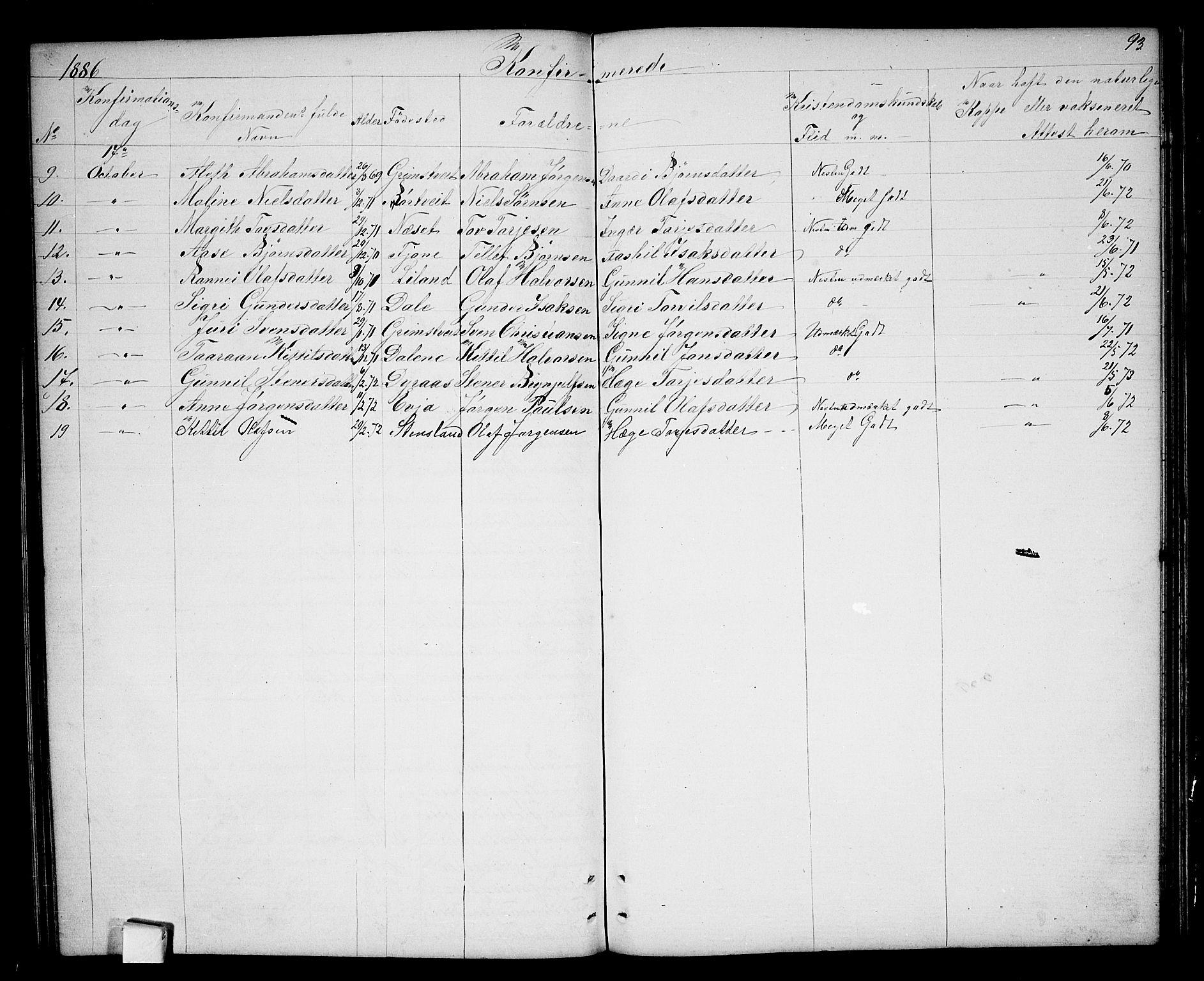 SAKO, Nissedal kirkebøker, G/Ga/L0002: Klokkerbok nr. I 2, 1861-1887, s. 93