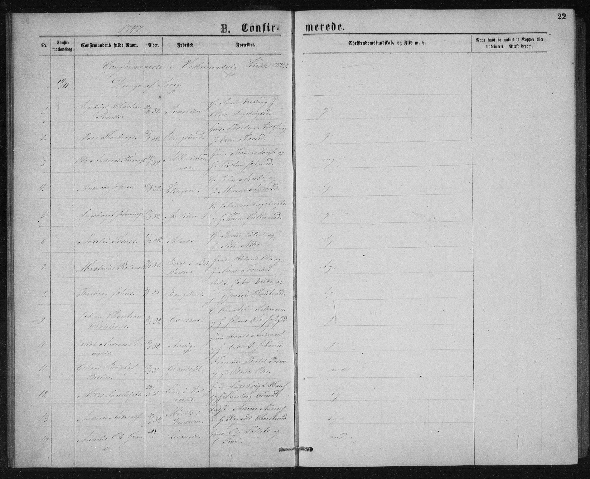 SAT, Ministerialprotokoller, klokkerbøker og fødselsregistre - Nord-Trøndelag, 768/L0567: Ministerialbok nr. 768A02, 1837-1865, s. 22