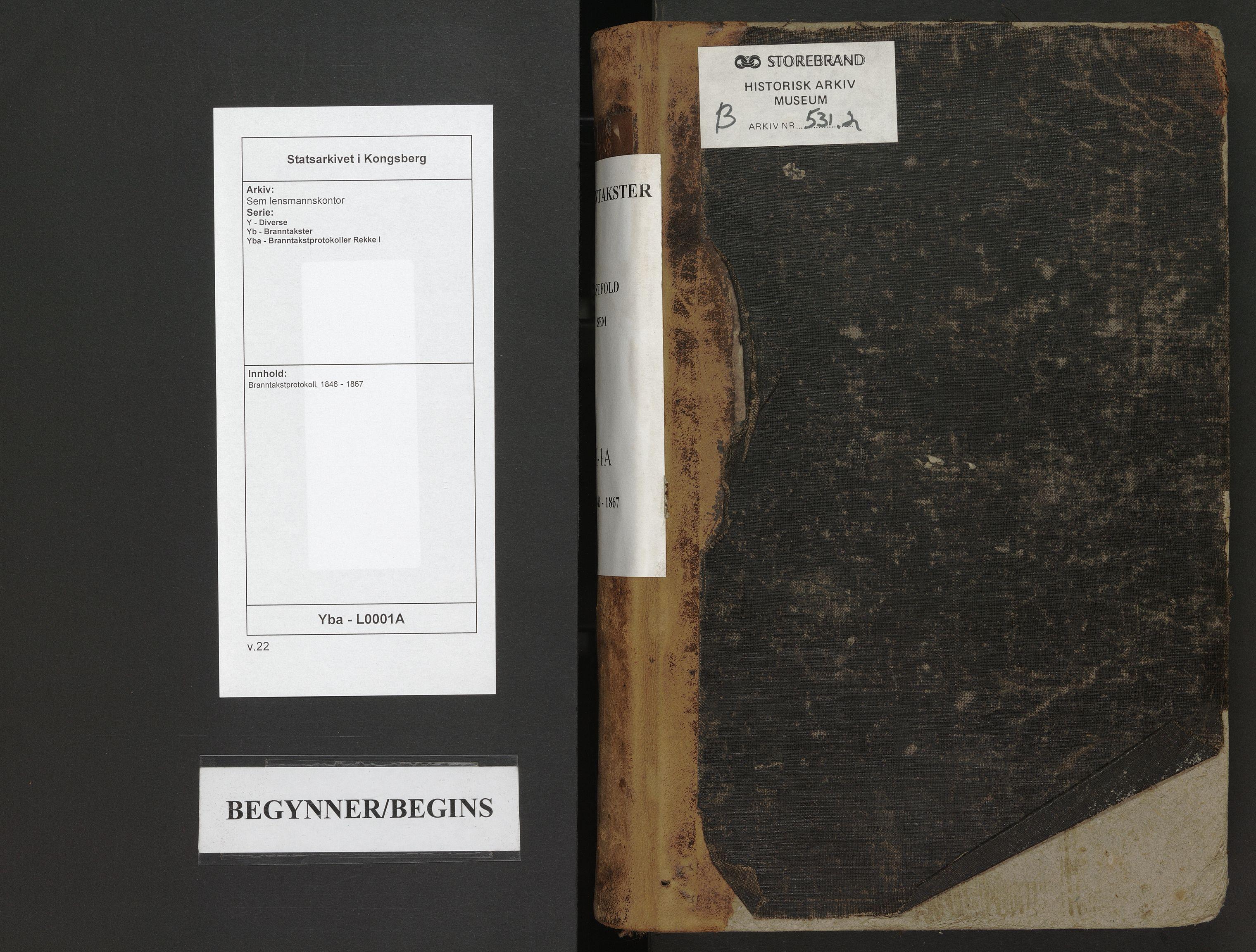 SAKO, Sem lensmannskontor, Y/Yb/Yba/L0001A: Branntakstprotokoll, 1846-1867