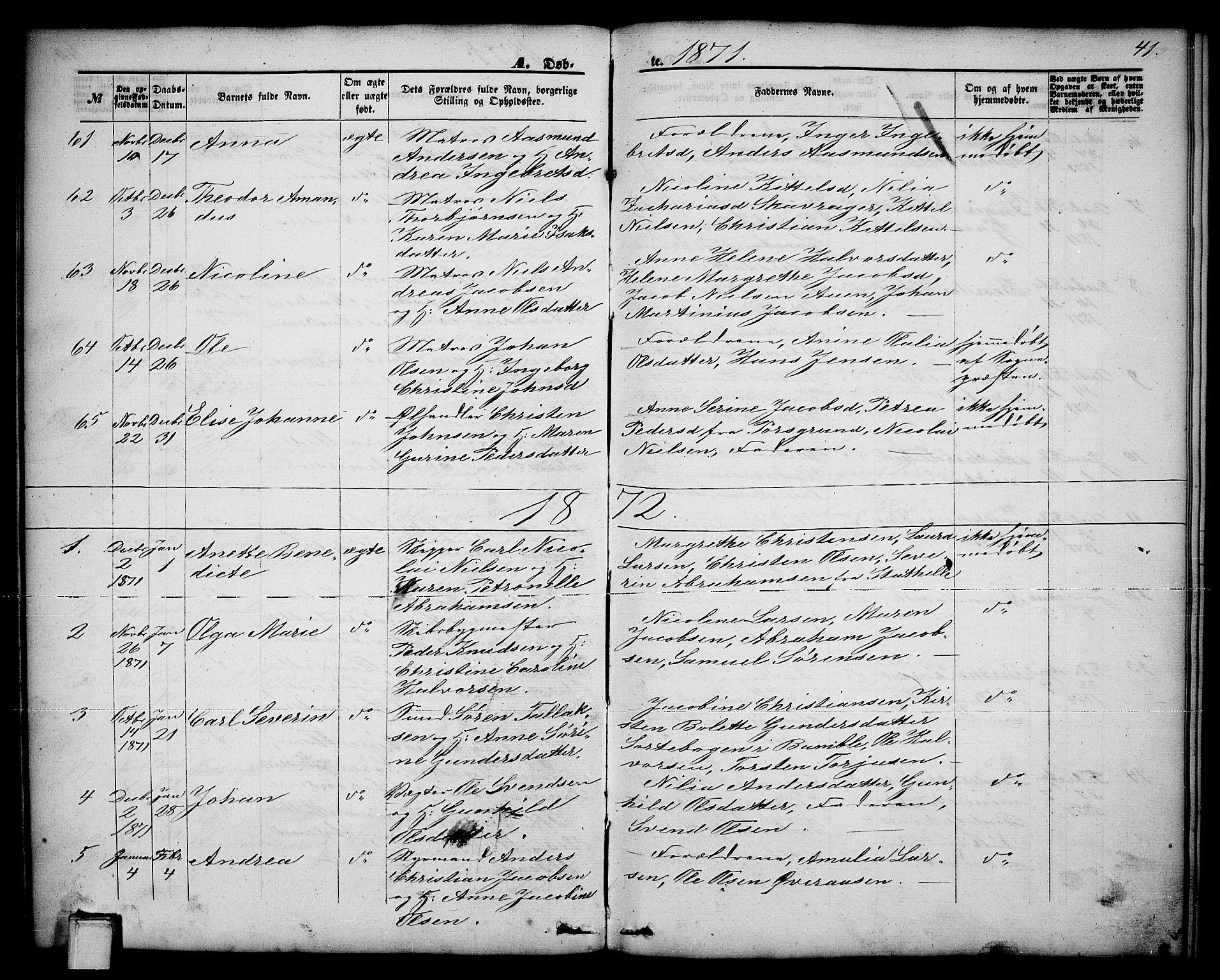 SAKO, Brevik kirkebøker, G/Ga/L0003: Klokkerbok nr. 3, 1866-1881, s. 41