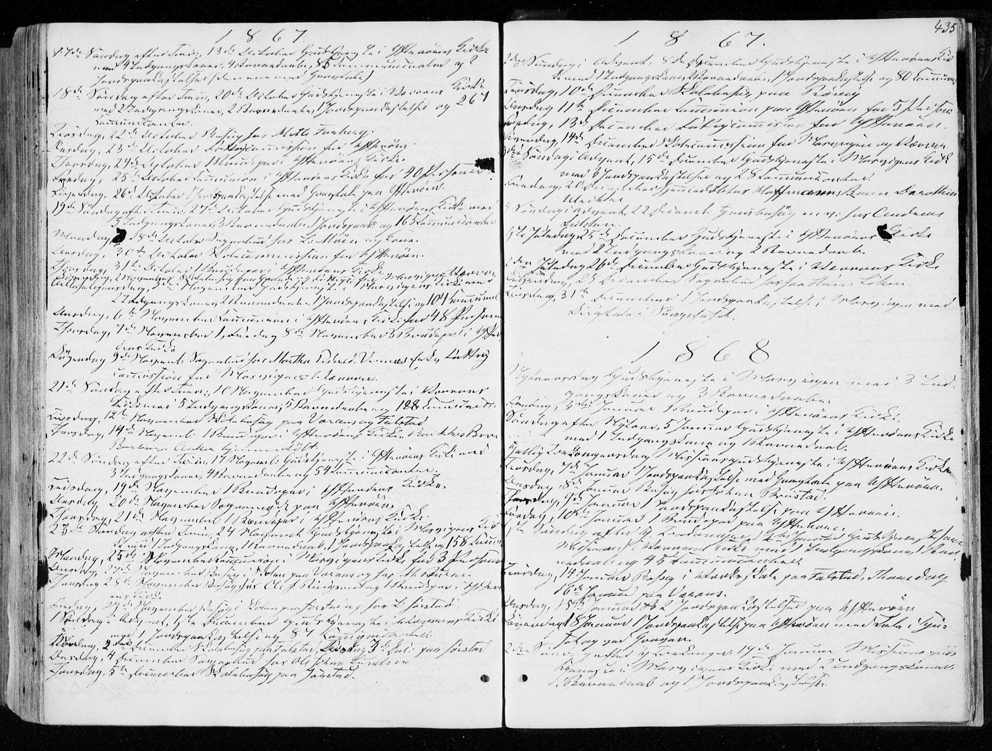 SAT, Ministerialprotokoller, klokkerbøker og fødselsregistre - Nord-Trøndelag, 722/L0218: Ministerialbok nr. 722A05, 1843-1868, s. 435