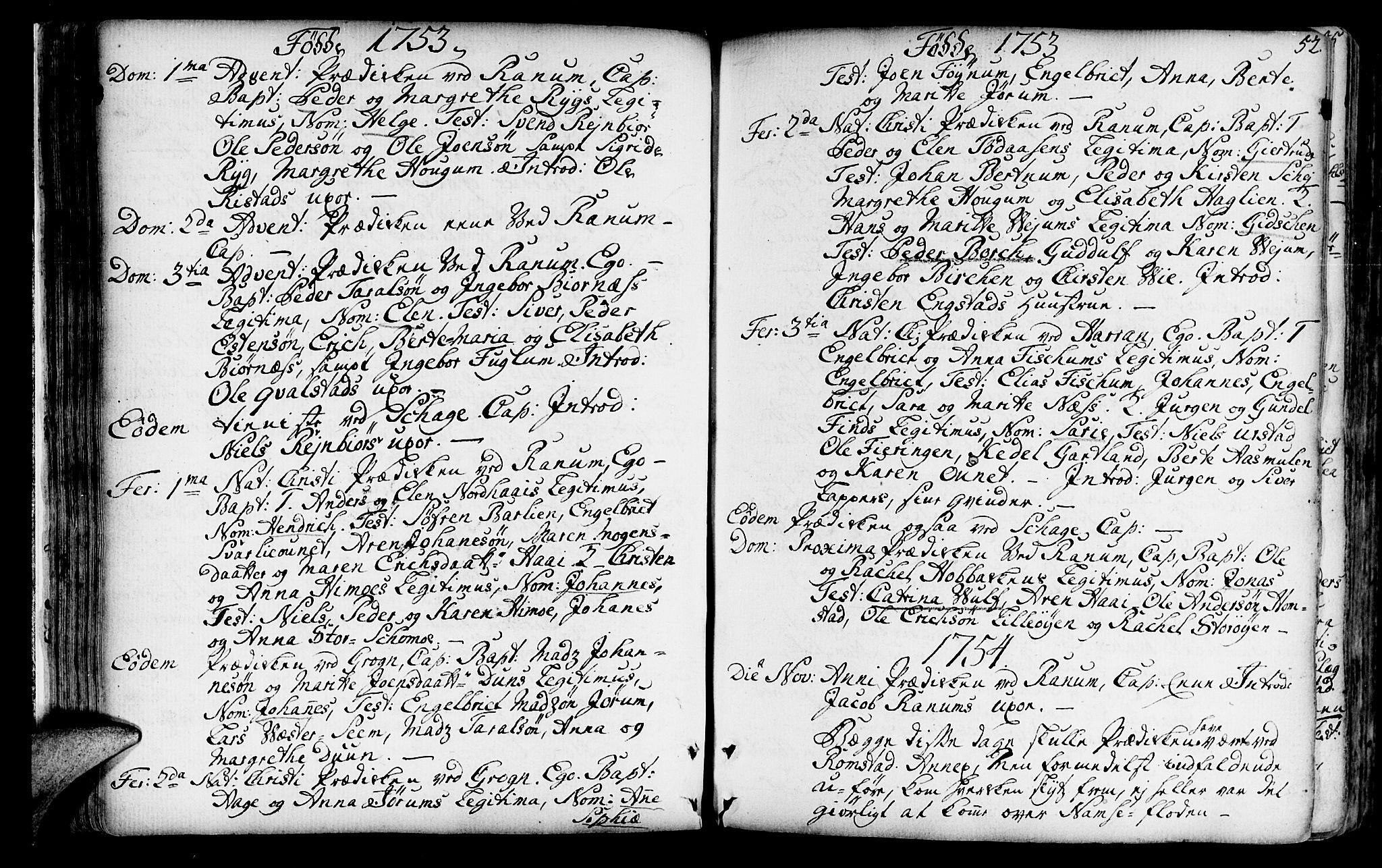 SAT, Ministerialprotokoller, klokkerbøker og fødselsregistre - Nord-Trøndelag, 764/L0542: Ministerialbok nr. 764A02, 1748-1779, s. 52