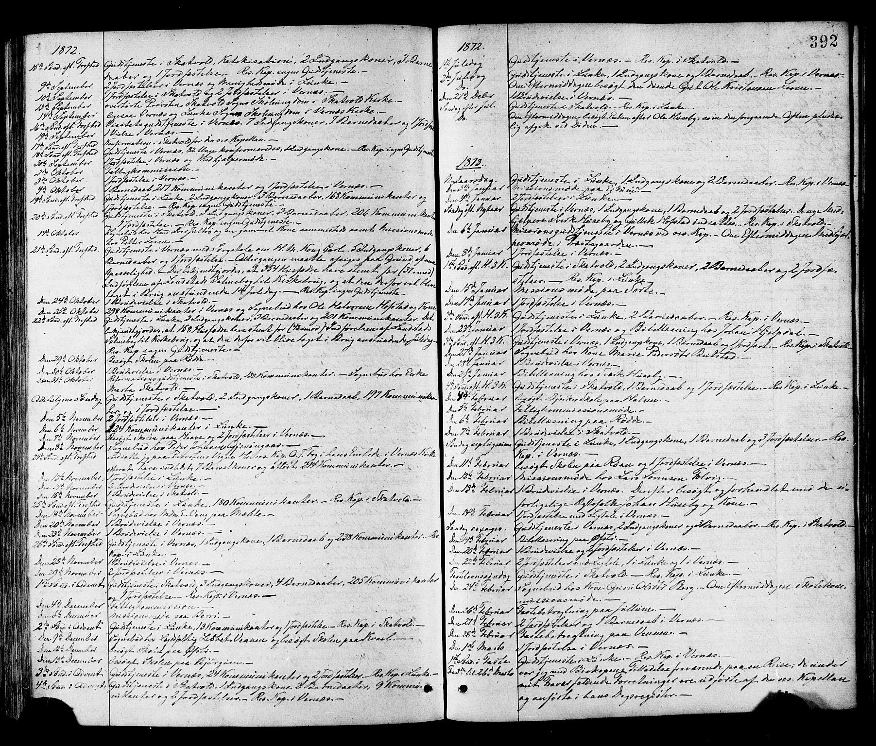 SAT, Ministerialprotokoller, klokkerbøker og fødselsregistre - Nord-Trøndelag, 709/L0076: Ministerialbok nr. 709A16, 1871-1879, s. 392