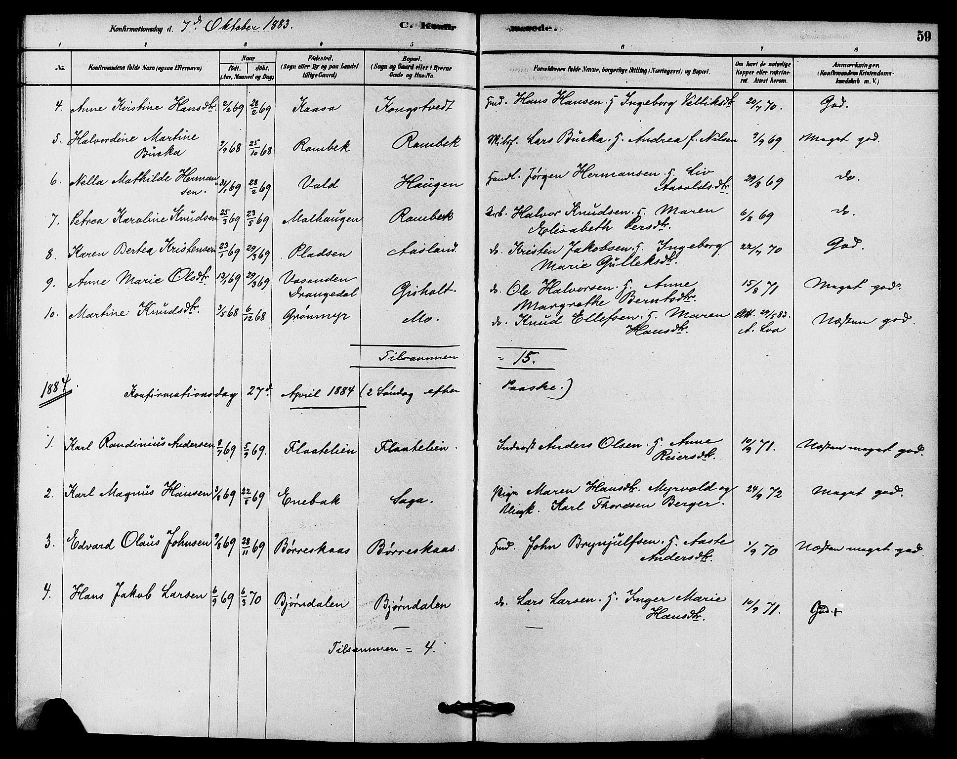 SAKO, Solum kirkebøker, F/Fc/L0001: Ministerialbok nr. III 1, 1877-1891, s. 59